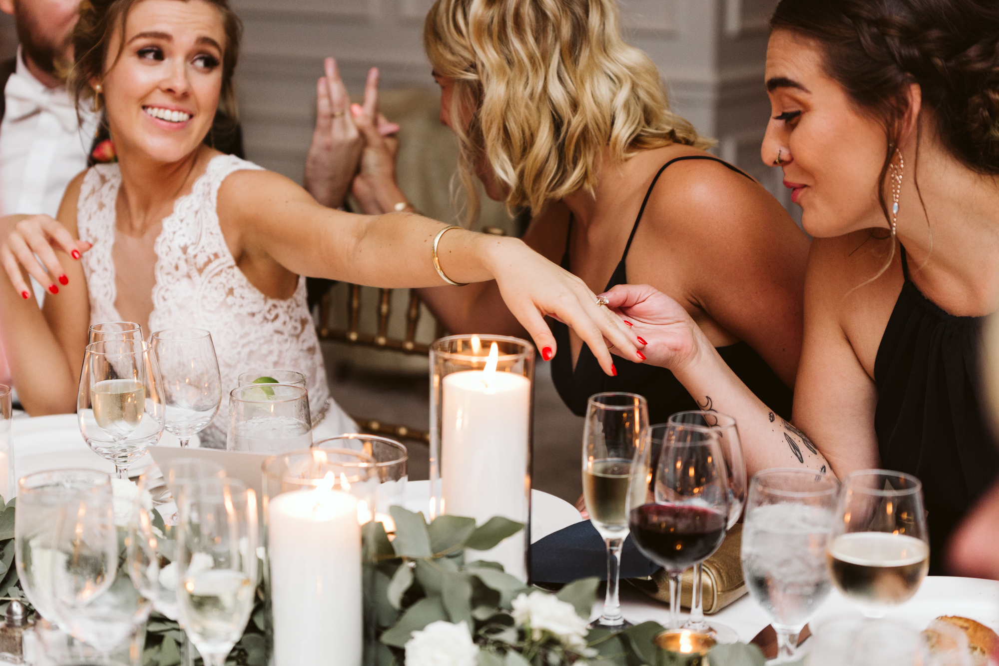 Elegant, Columbia Country Club, Chevy Chase Maryland, Baltimore Wedding Photographer, Traditional, Bride Showing Off Ring to Bridesmaid, Allison Pearlstein Makeup