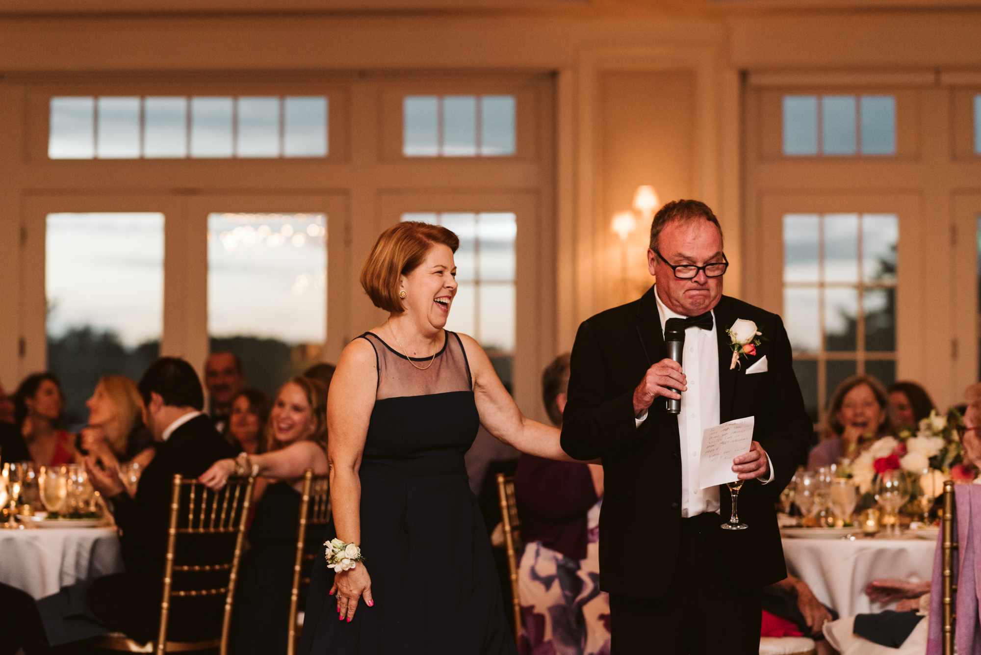 Elegant, Columbia Country Club, Chevy Chase Maryland, Baltimore Wedding Photographer, Classic, Traditional, Mom and Dad Giving Toasts at Wedding Reception, Wedding Guests Laughing
