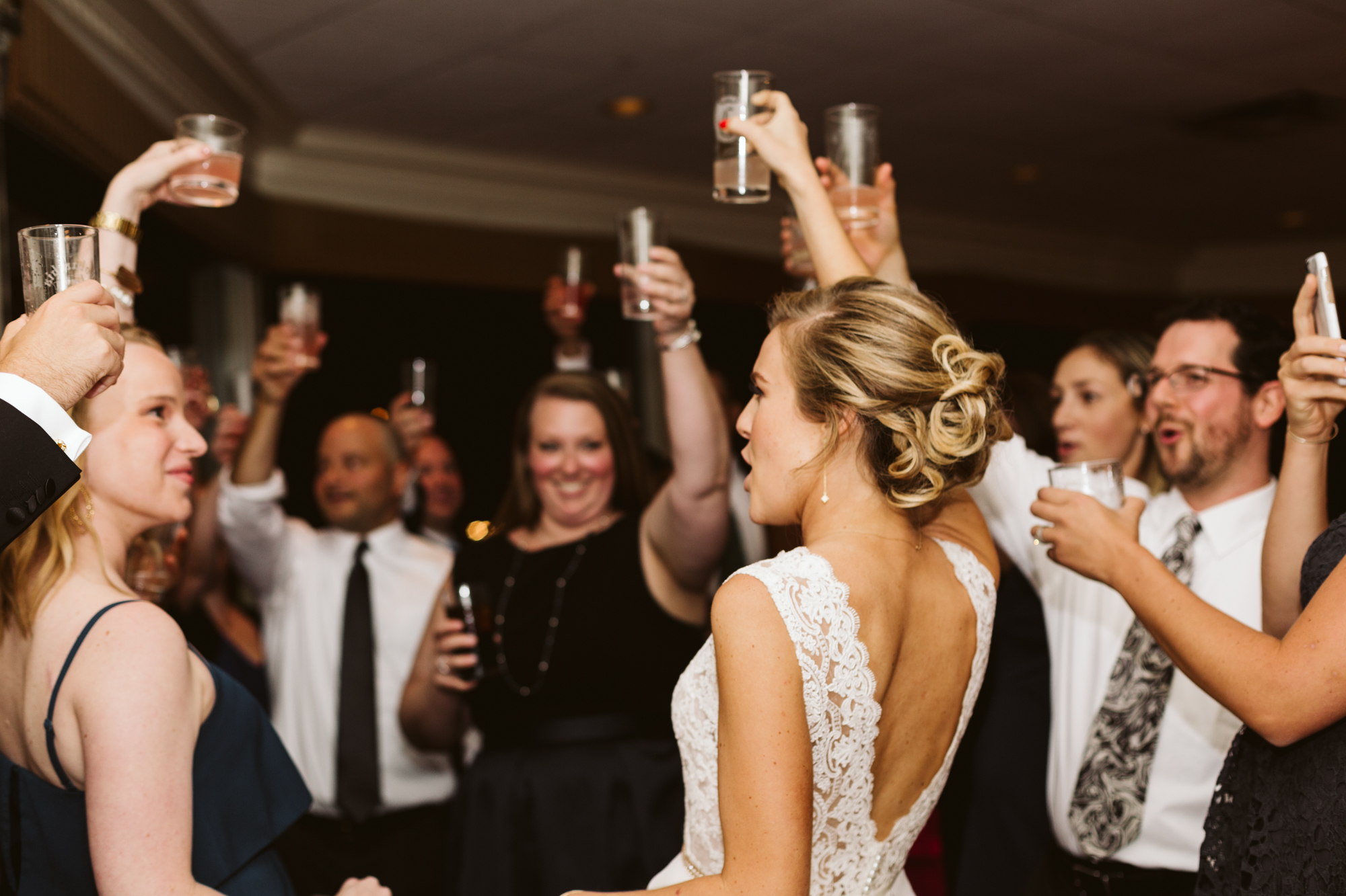 Elegant, Columbia Country Club, Chevy Chase Maryland, Baltimore Wedding Photographer, Classic, Traditional, Family Doing a Shot During Reception, Raising a Glass, Bride Toasting