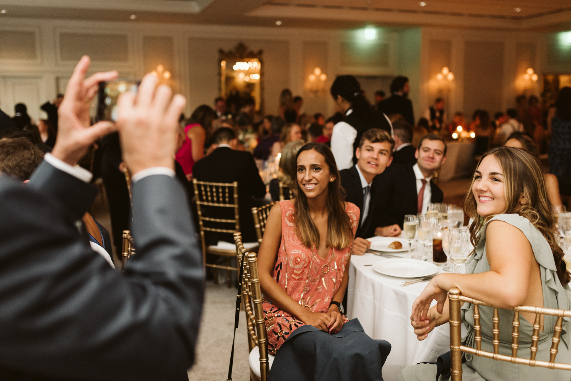 Elegant, Columbia Country Club, Chevy Chase Maryland, Baltimore Wedding Photographer, Classic, Traditional, Wedding Guests at Reception, Candid Photo