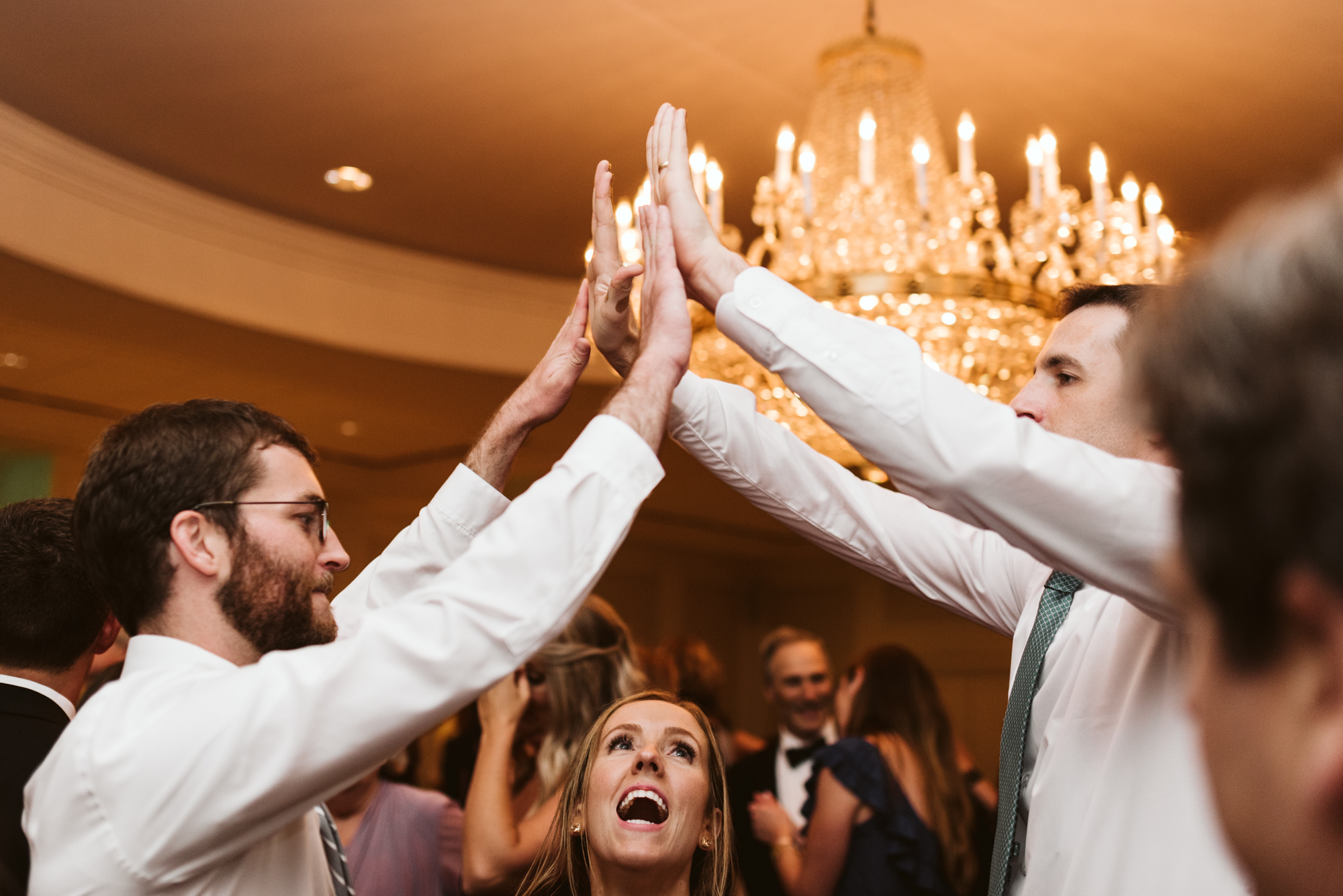 Elegant, Columbia Country Club, Chevy Chase Maryland, Baltimore Wedding Photographer, Classic, Traditional, Friends Dancing at Wedding Reception