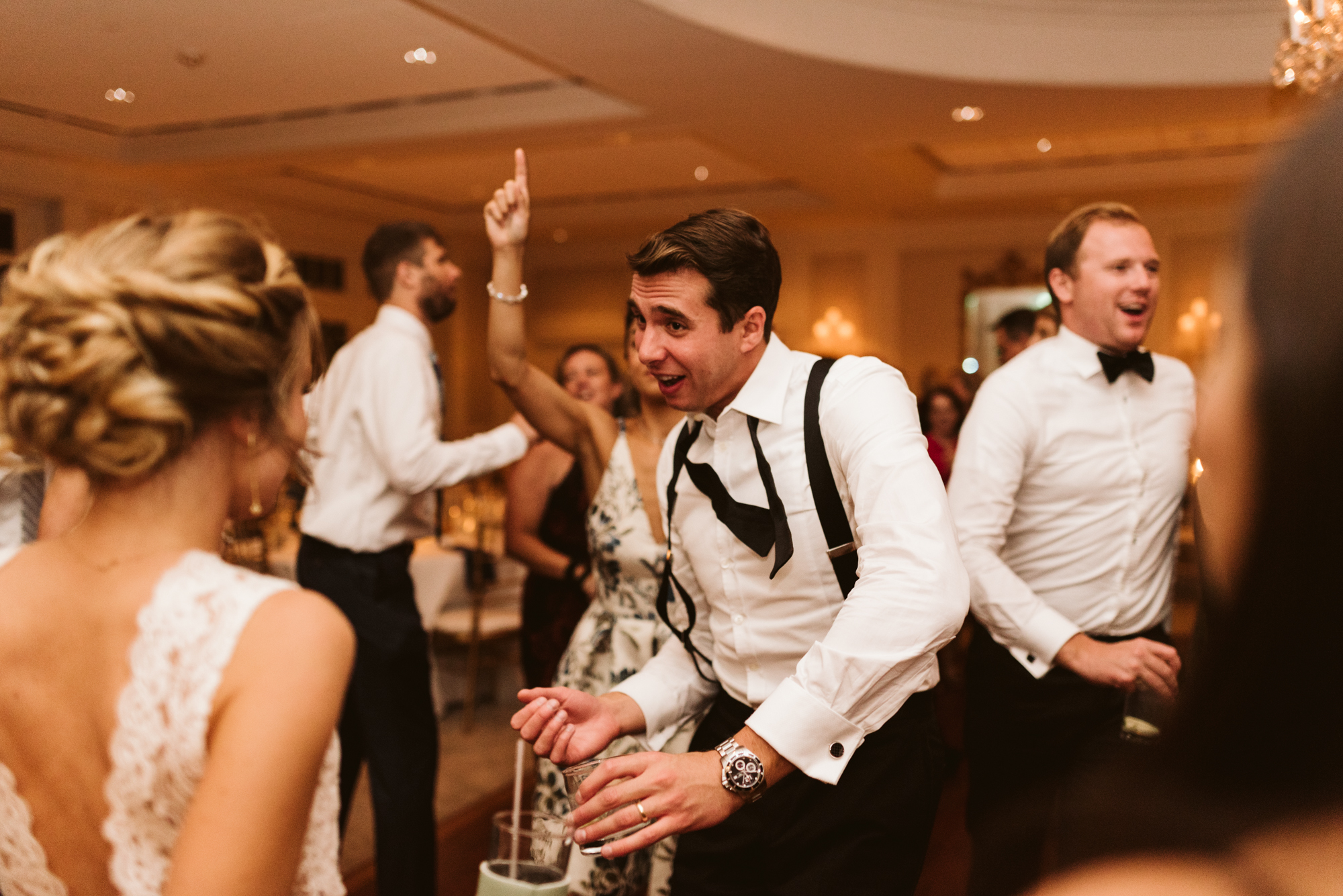Elegant, Columbia Country Club, Chevy Chase Maryland, Baltimore Wedding Photographer, Classic, Traditional, Groomsmen Dancing with Bride at Wedding Reception