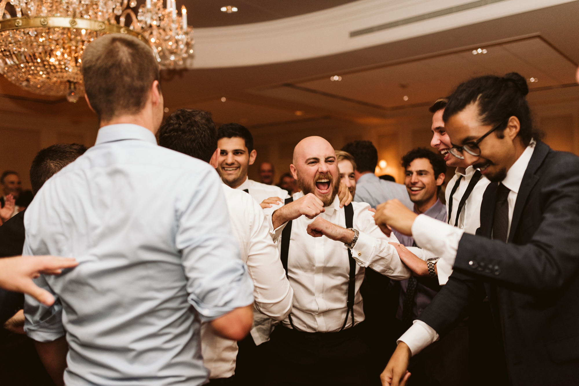 Elegant, Columbia Country Club, Chevy Chase Maryland, Baltimore Wedding Photographer, Classic, Traditional, Groom and Groomsmen Doing Awesome Dance Moves at Reception