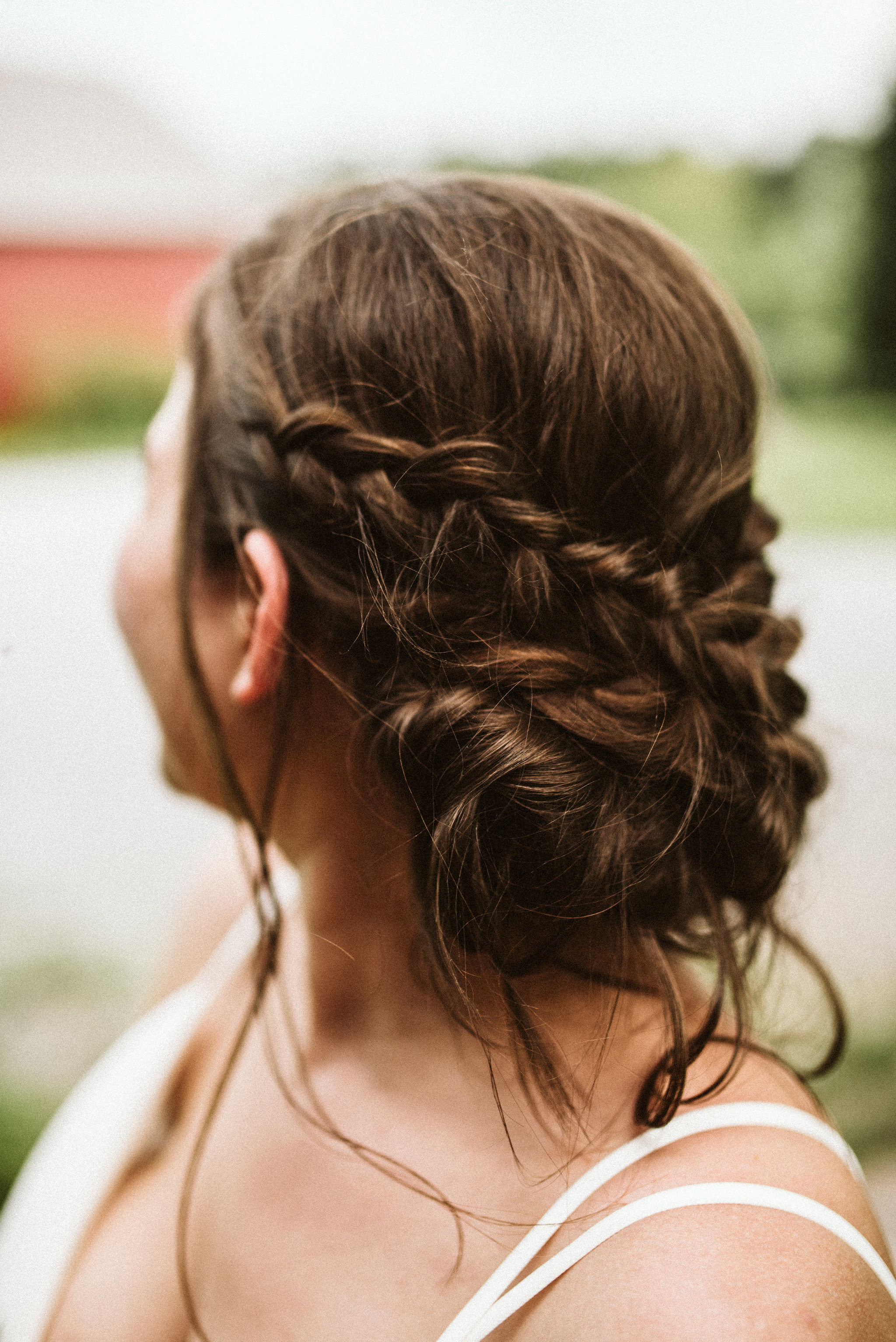 Rocklands Farm, Maryland, Intimate Wedding, Baltimore Wedding Photographer, Sungold Flower Co, Rustic, Romantic, Barn Wedding, Detail Photo of Bridal Hair, Braids