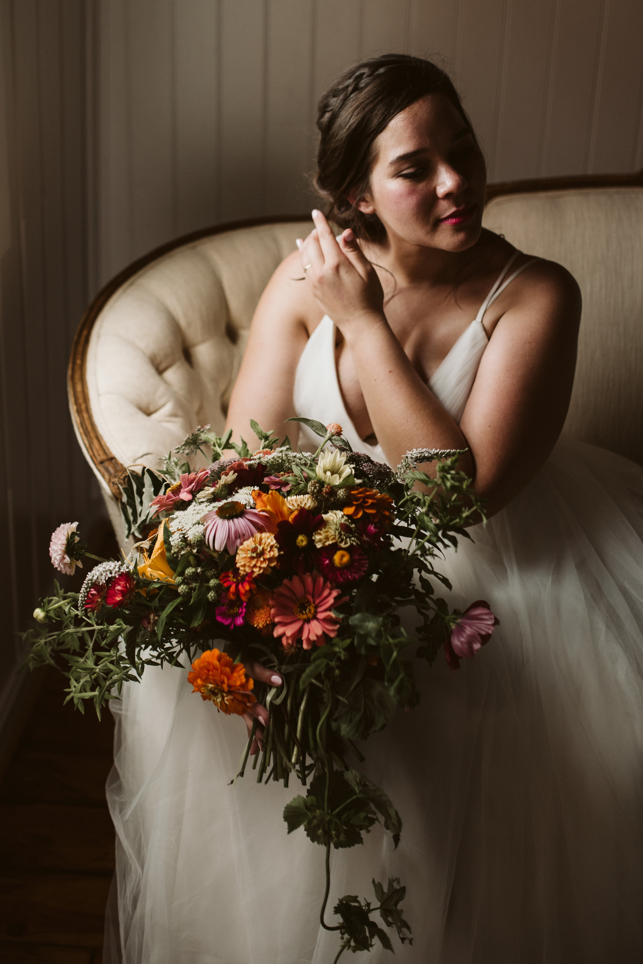 Rocklands Farm, Maryland, Intimate Wedding, Baltimore Wedding Photographer, Sungold Flower Co, Rustic, Romantic, Barn Wedding, Bride Portrait, Purple and Orange and Maroon Flowers in Bouquet