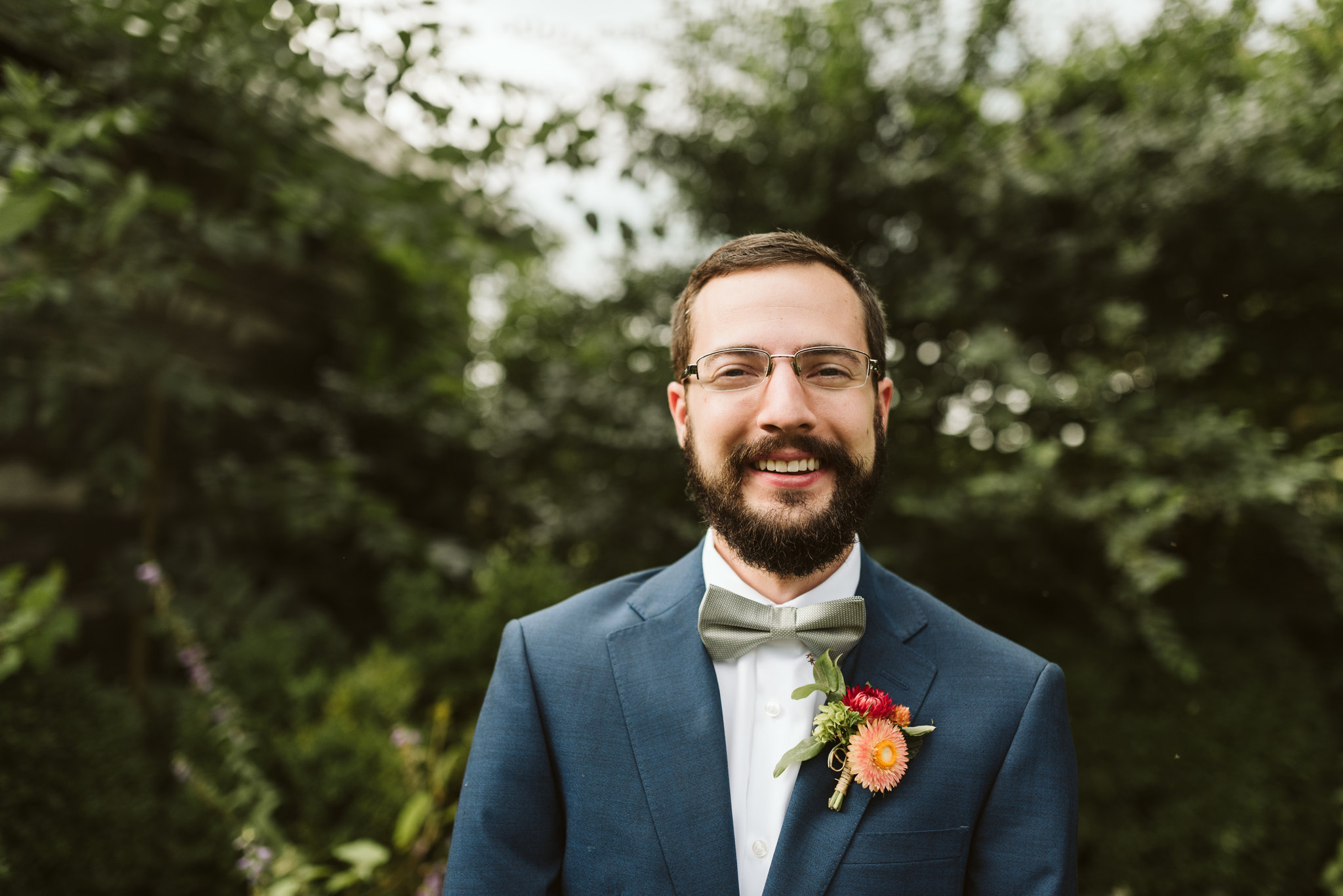 Rocklands Farm, Maryland, Intimate Wedding, Baltimore Wedding Photographer, Sungold Flower Co, Rustic, Romantic, Barn Wedding, Portrait of Groom Smiling Before Ceremony