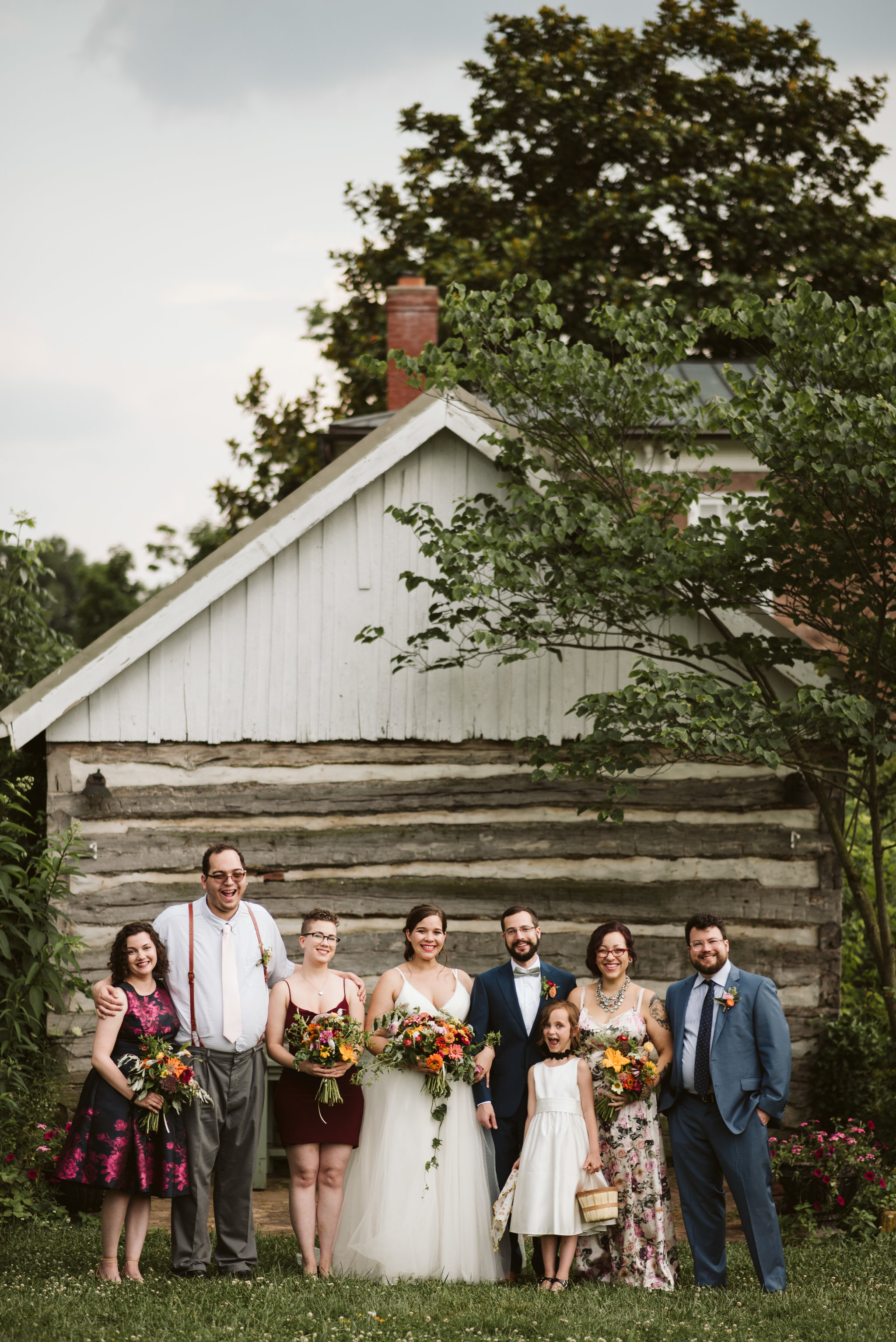 Rocklands Farm, Maryland, Intimate Wedding, Baltimore Wedding Photographer, Sungold Flower Co, Rustic, Romantic, Barn Wedding, Portrait of Wedding Party, Purple Dresses, Blue Suits