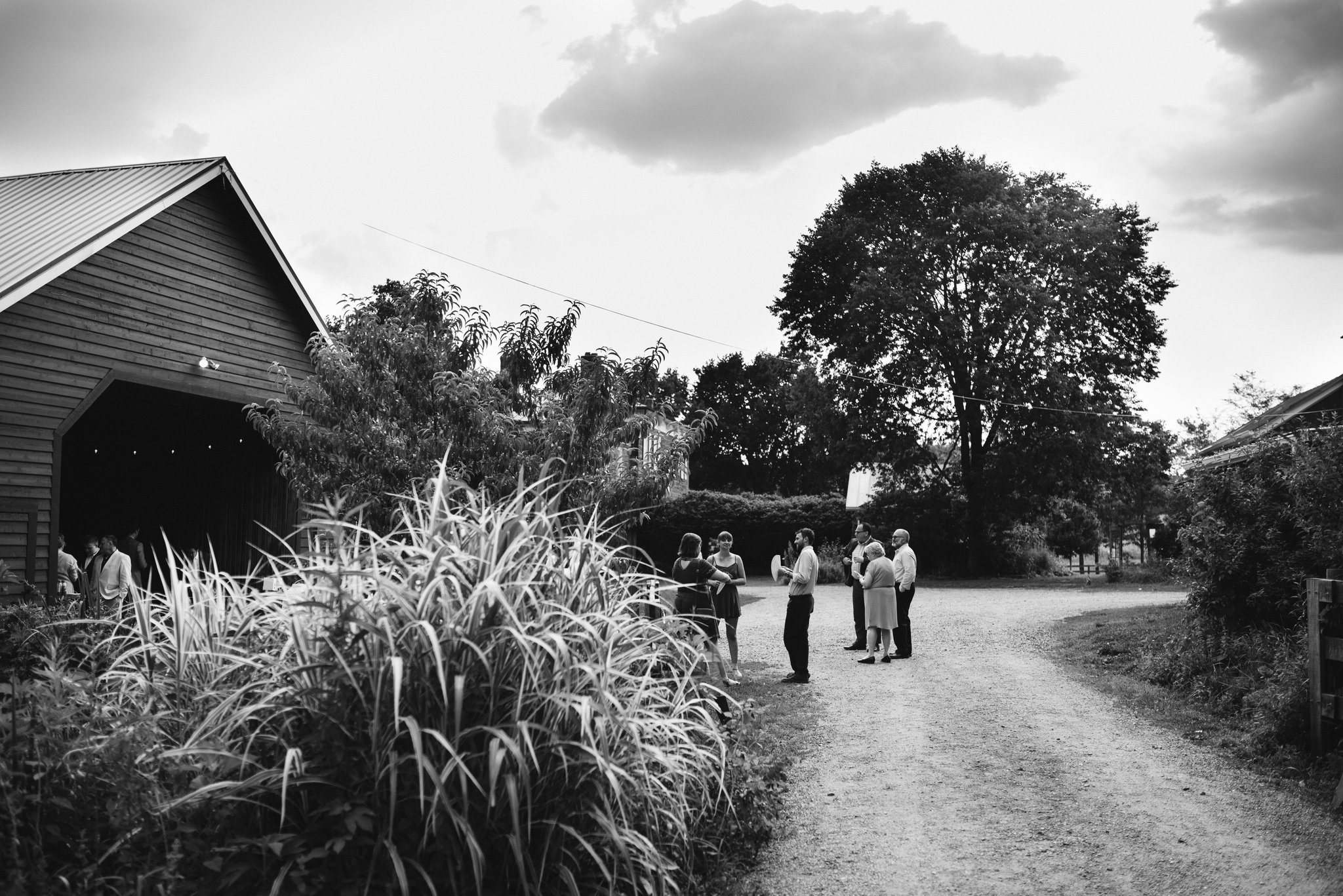 Rocklands Farm, Maryland, Intimate Wedding, Baltimore Wedding Photographer, Sungold Flower Co, Rustic, Romantic, Barn Wedding, Wedding Guests Talking Outside Barn, Black and White Photo