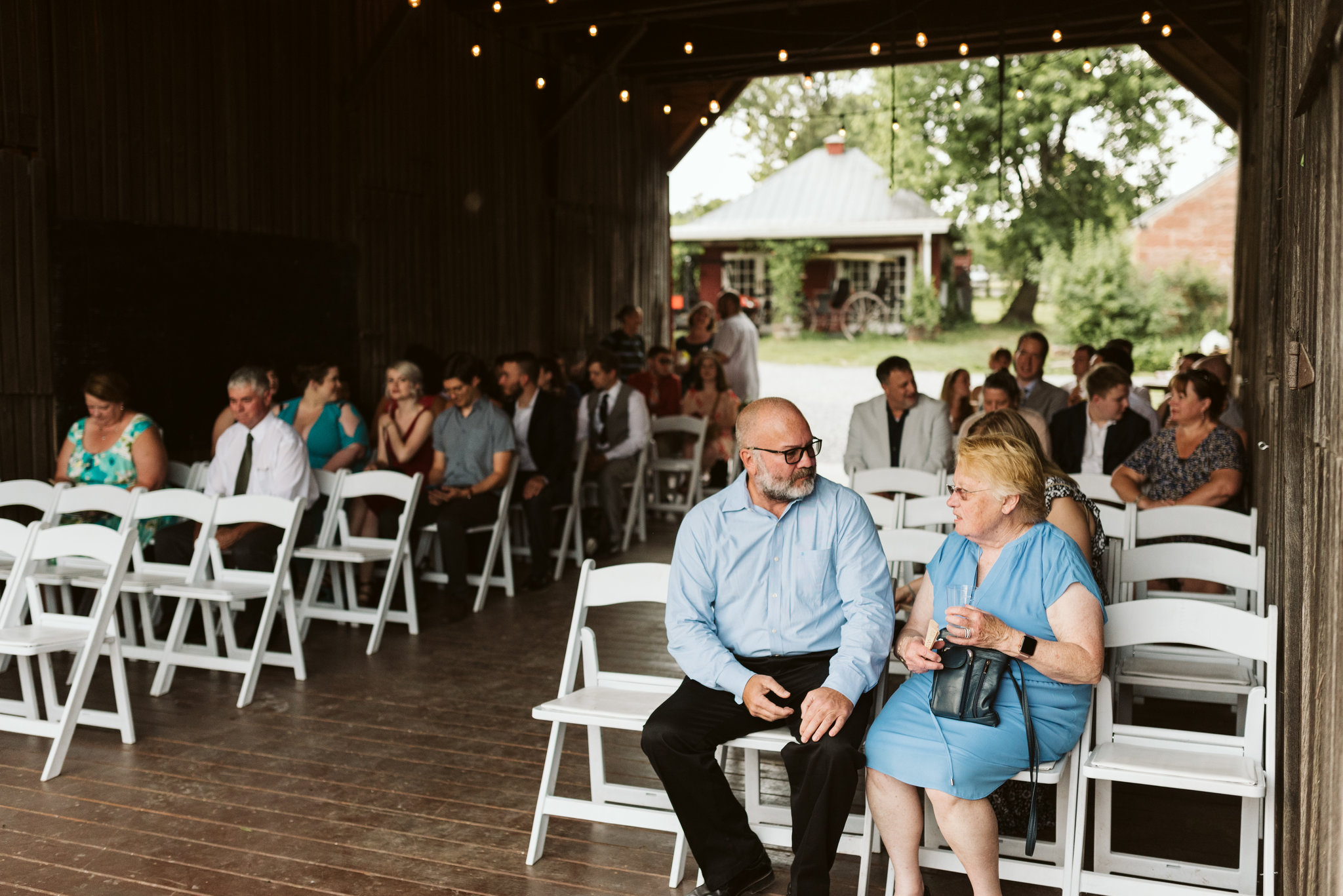 Rocklands Farm, Maryland, Intimate Wedding, Baltimore Wedding Photographer, Sungold Flower Co, Rustic, Romantic, Barn Wedding, Wedding Guests Talking Before Ceremony Begins