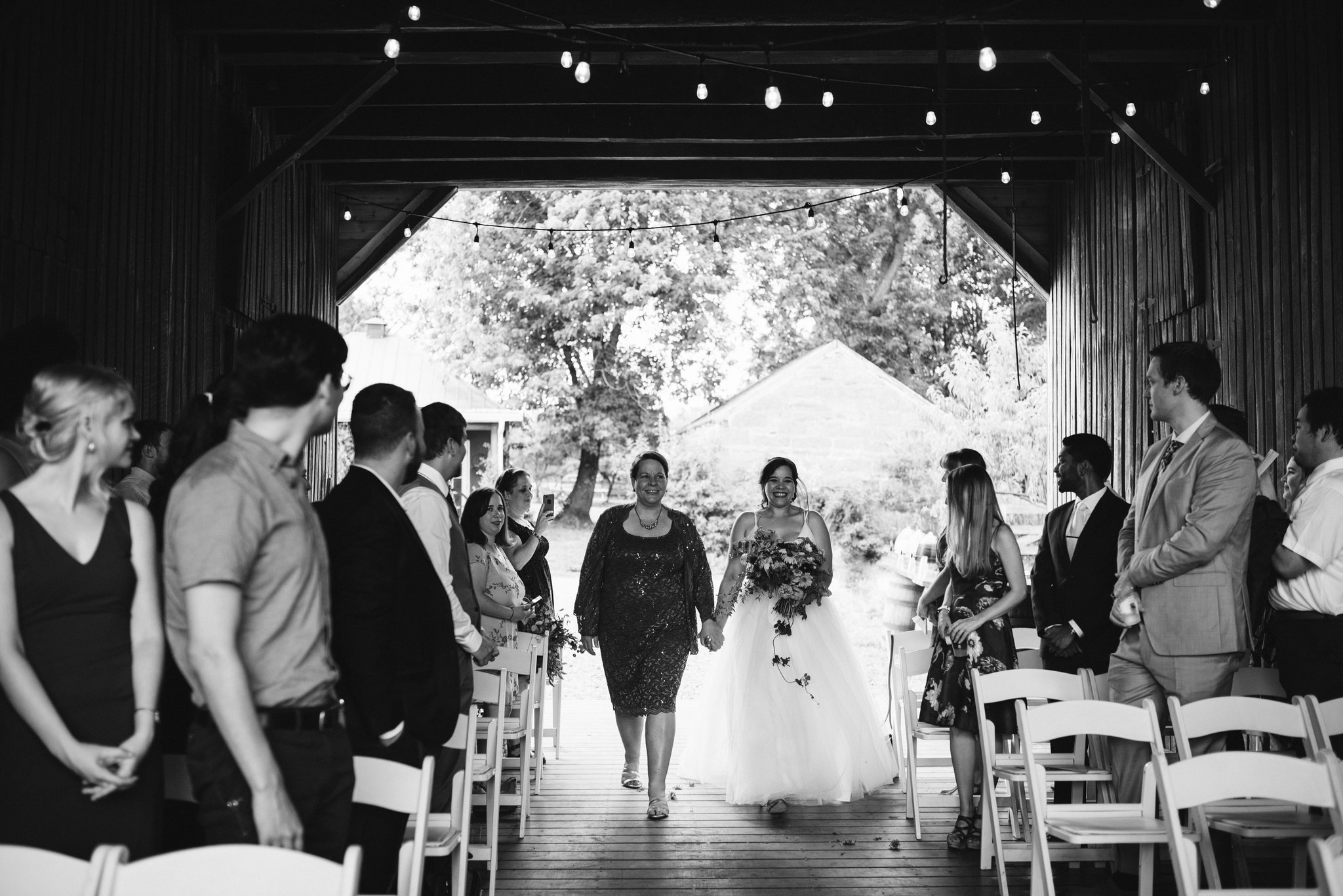 Rocklands Farm, Maryland, Intimate Wedding, Baltimore Wedding Photographer, Sungold Flower Co, Rustic, Romantic, Barn Wedding, Bride Walking Down Aisle with Mother, Black and White Photo