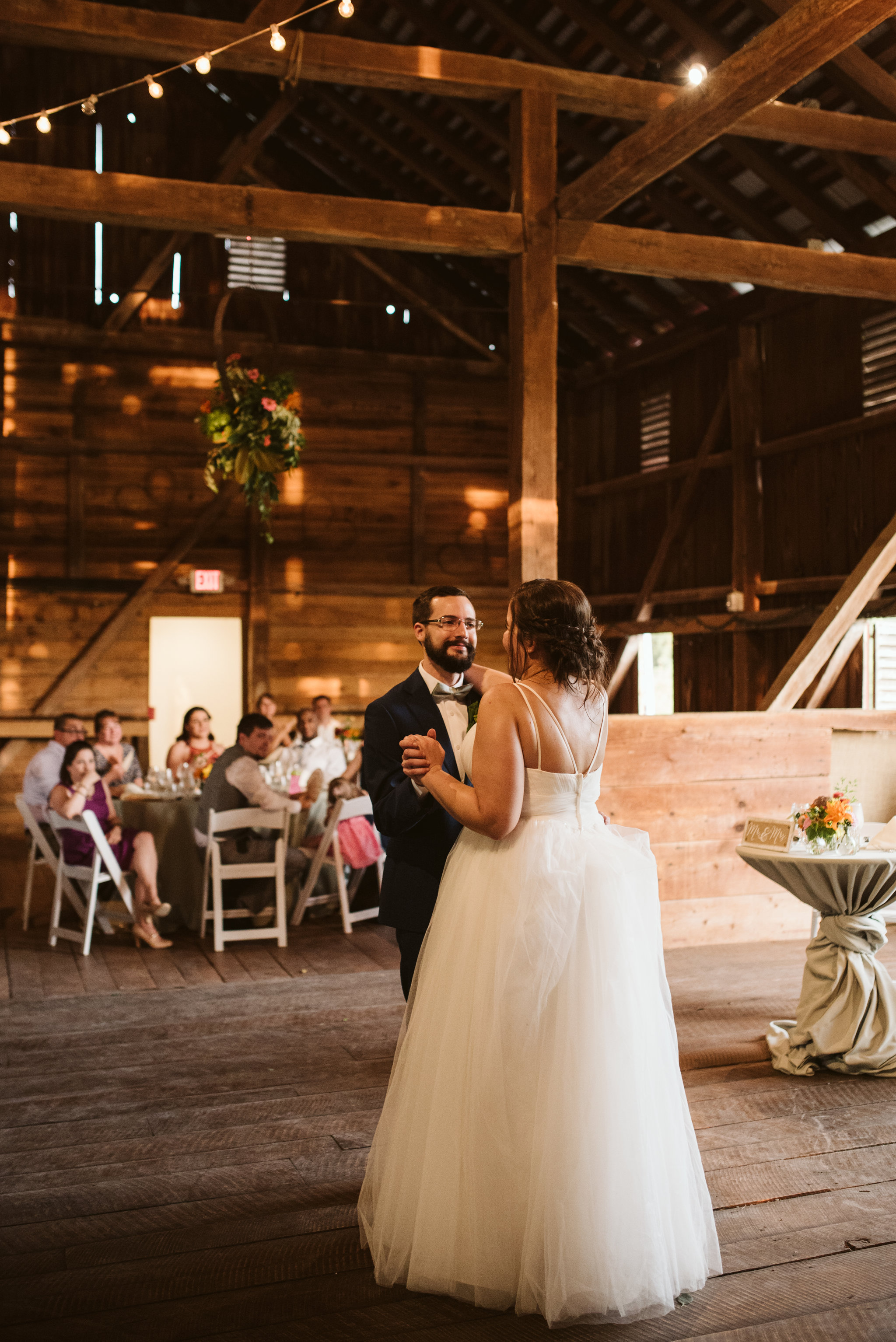Rocklands Farm, Maryland, Intimate Wedding, Baltimore Wedding Photographer, Sungold Flower Co, Rustic, Romantic, Barn Wedding, Bride and Groom First Dance, Tulle Wedding Dress