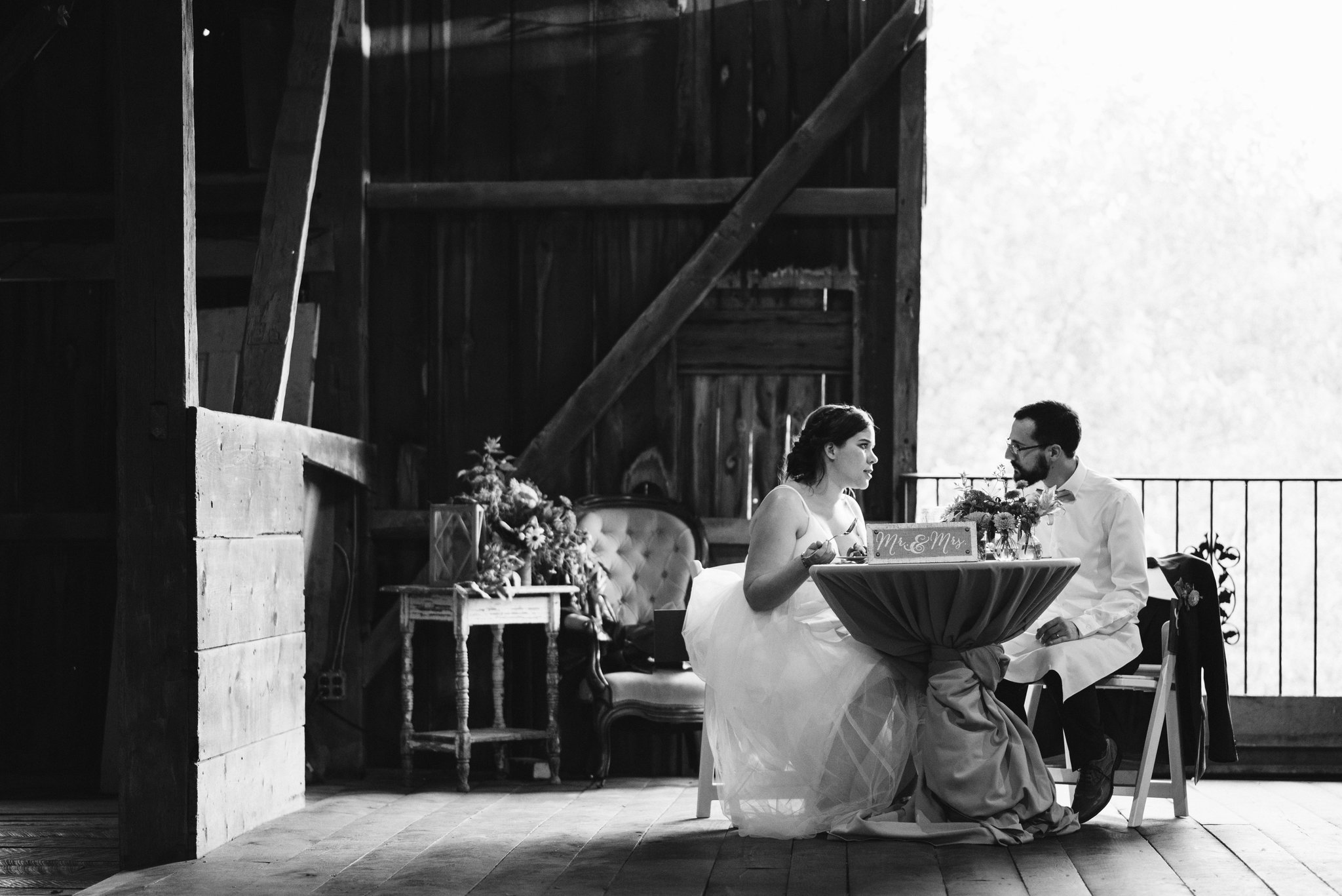 Rocklands Farm, Maryland, Intimate Wedding, Baltimore Wedding Photographer, Sungold Flower Co, Rustic, Romantic, Barn Wedding, Bride and Groom at Head Table, Black and White Photo