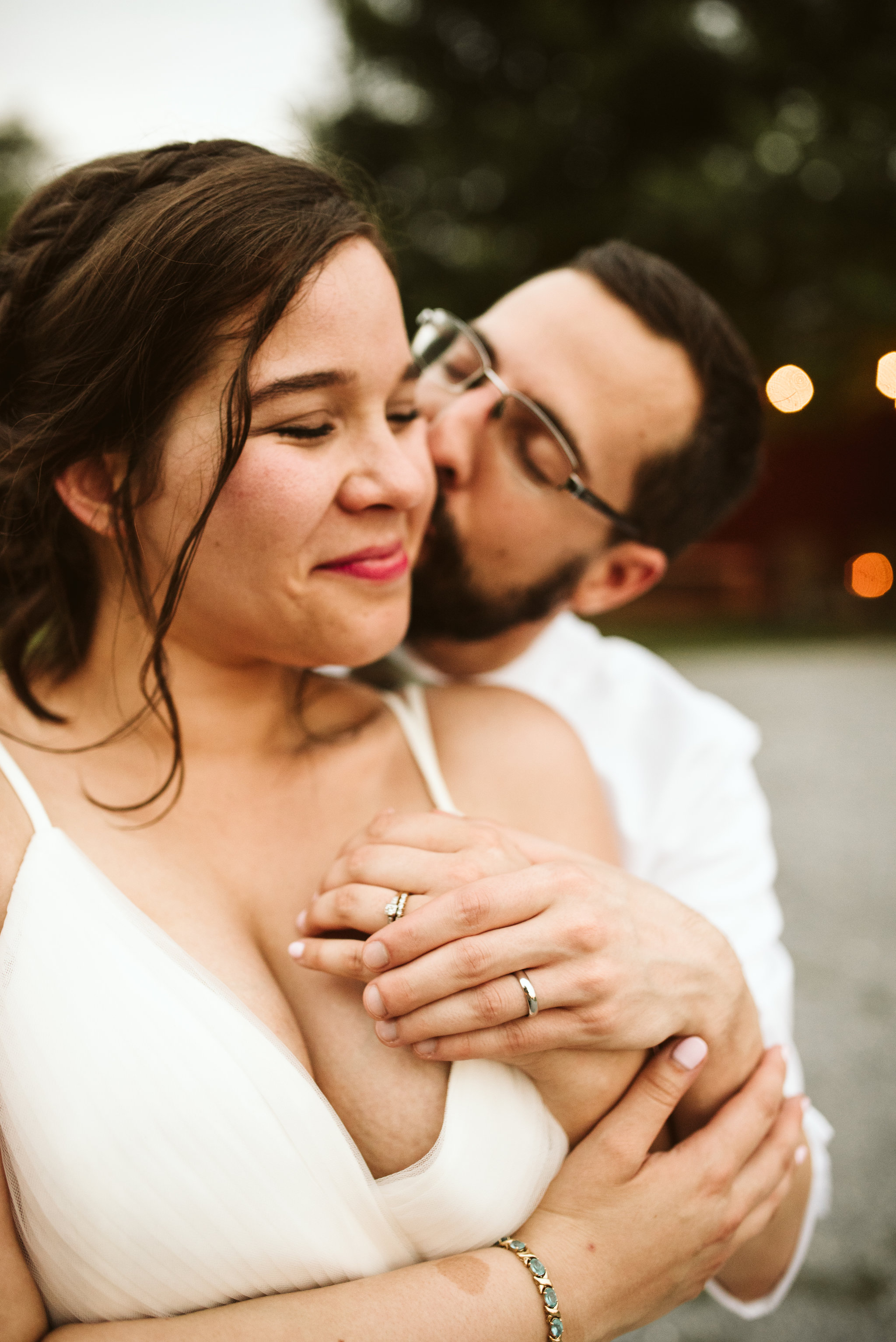 Rocklands Farm, Maryland, Intimate Wedding, Baltimore Wedding Photographer, Sungold Flower Co, Rustic, Romantic, Barn Wedding, Cute Photo of Groom Kissing Bride on the Cheek