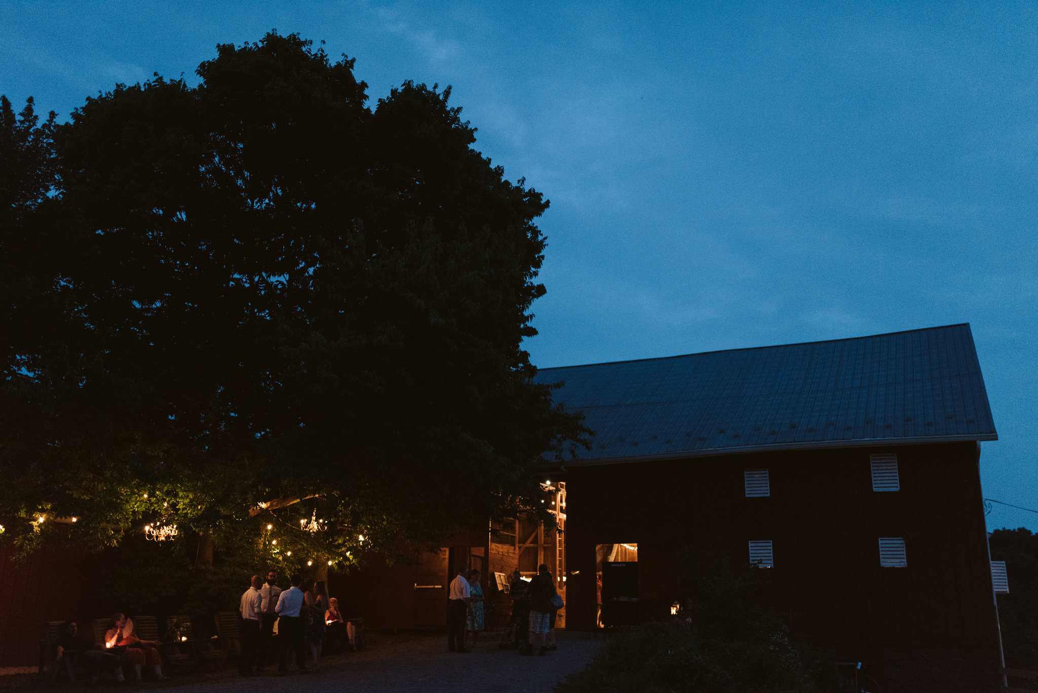 Rocklands Farm, Maryland, Intimate Wedding, Baltimore Wedding Photographer, Sungold Flower Co, Rustic, Romantic, Barn Wedding, Twilight Photo of Illuminated Barn