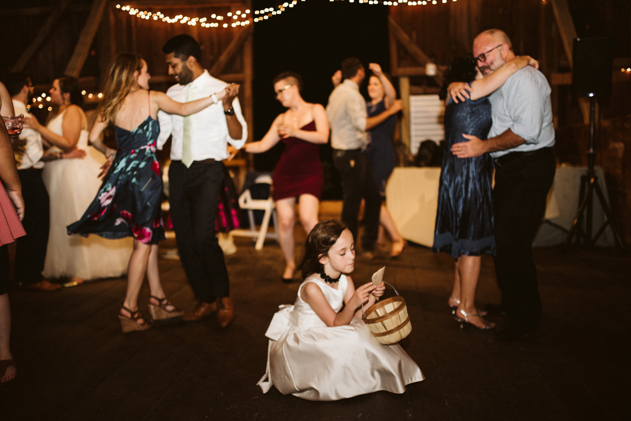 Rocklands Farm, Maryland, Intimate Wedding, Baltimore Wedding Photographer, Sungold Flower Co, Rustic, Romantic, Barn Wedding, Flower Girl on Dance Floor, Guests Dancing