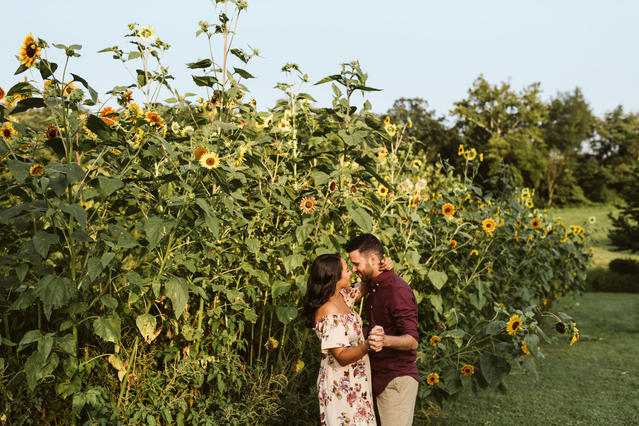 Frederick Maryland, Baltimore Wedding Photographer, Engagement, Bend in the River Farm, Outdoor, Rustic, Nature, Bride and Groom Dancing in Field of Sunflowers, Sunshine