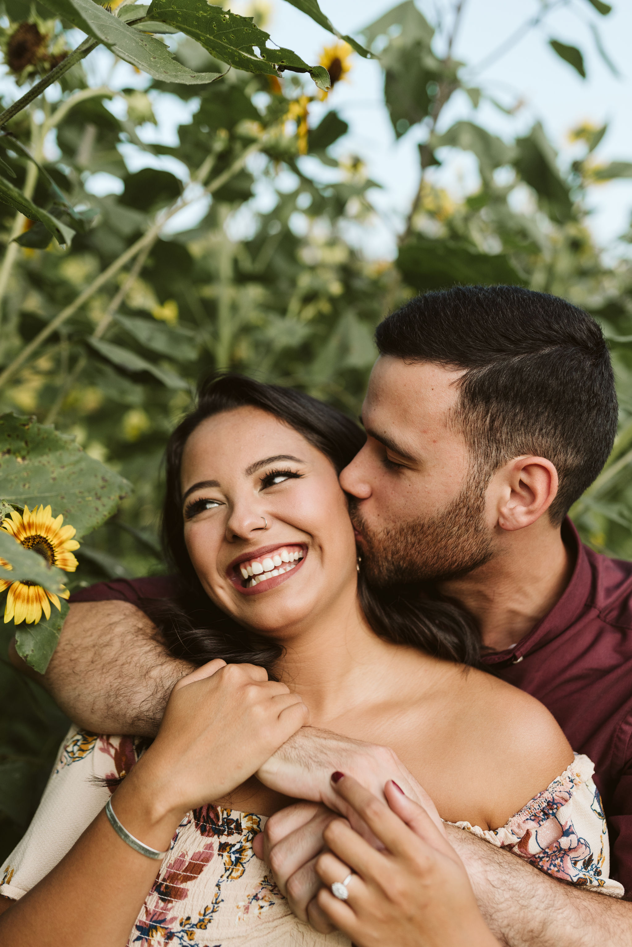 Frederick Maryland, Baltimore Wedding Photographer, Engagement, Bend in the River Farm, Outdoor, Rustic, Nature, Cute Closeup Photo of Groom Kissing Bride on the Cheek