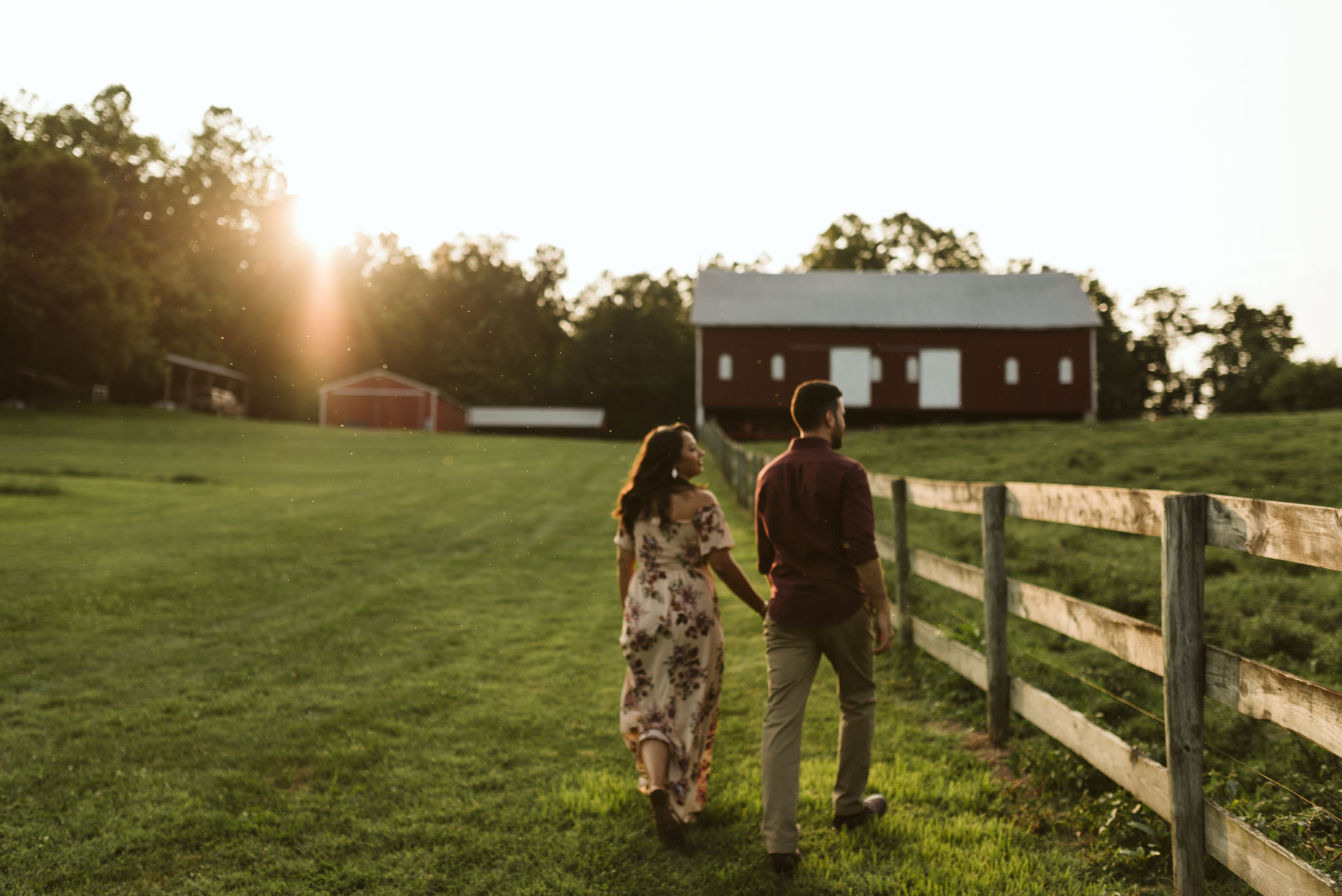 Frederick Maryland, Baltimore Wedding Photographer, Engagement, Bend in the River Farm, Outdoor, Rustic, Nature, Bride and Groom Walking Hand in Hand at Sunset, Farmhouse