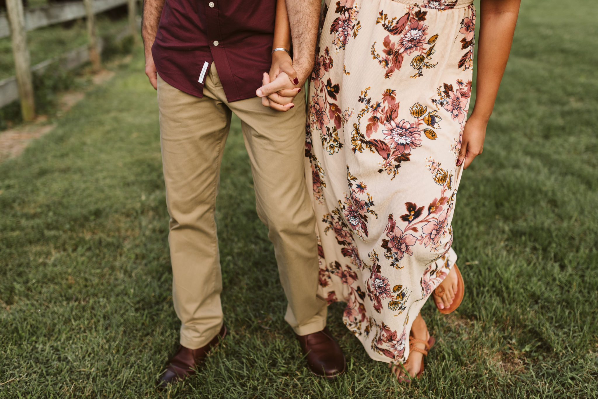 Frederick Maryland, Baltimore Wedding Photographer, Engagement, Bend in the River Farm, Outdoor, Rustic, Nature, Bride and Groom Holding Hands, Happy Couple
