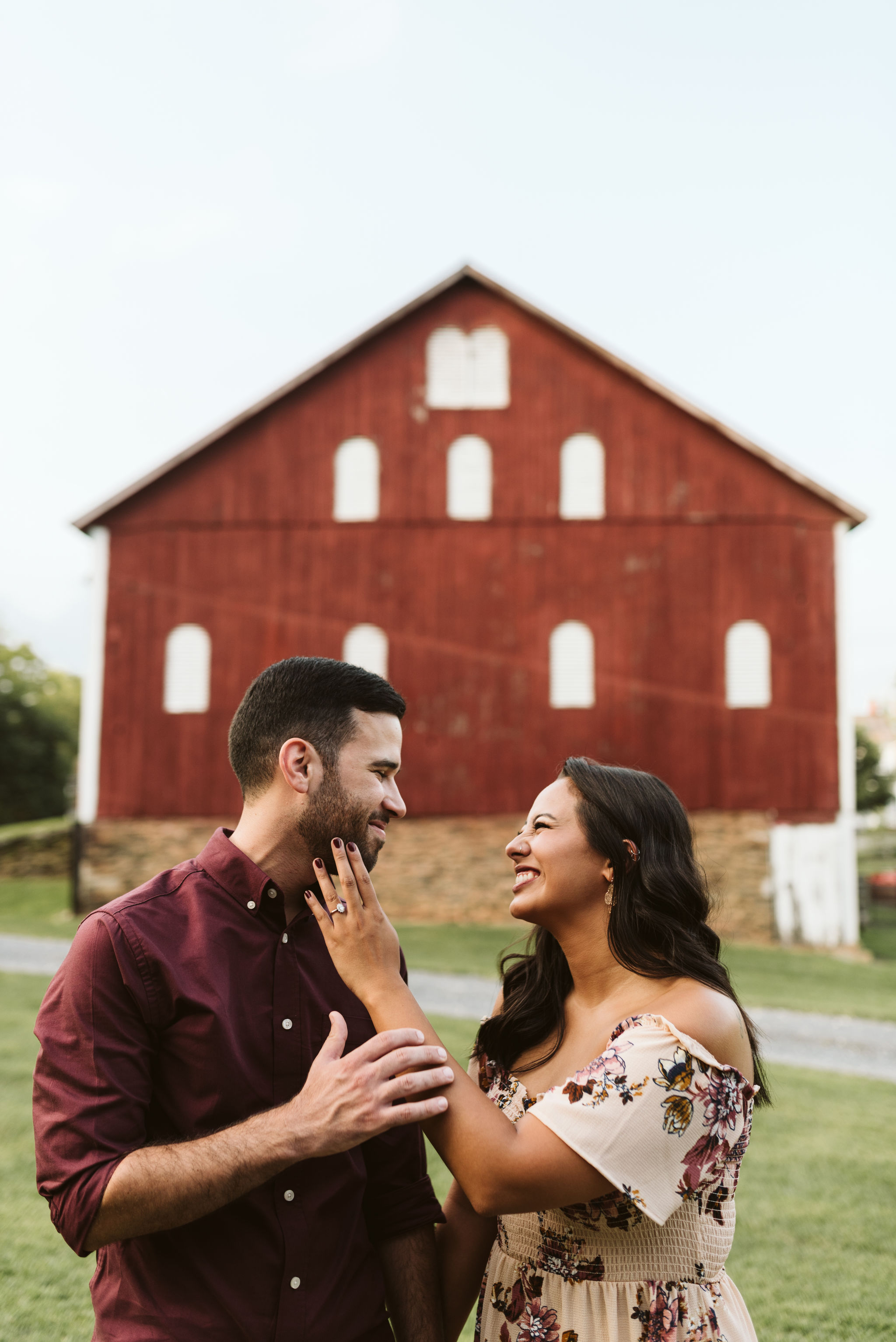 Frederick Maryland, Baltimore Wedding Photographer, Engagement, Bend in the River Farm, Outdoor, Rustic, Nature, Bride and Groom Laughing Together, Photo of Engagement Ring