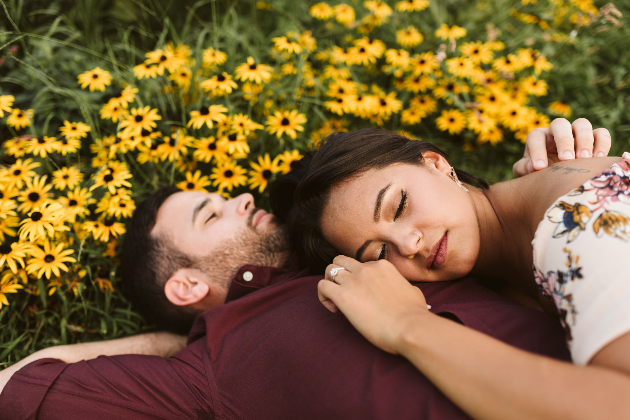 Frederick Maryland, Baltimore Wedding Photographer, Engagement, Bend in the River Farm, Outdoor, Rustic, Nature, Bride and Groom Laying in a Field of Wildflowers Together, Sweet Portrait, Engagement Ring