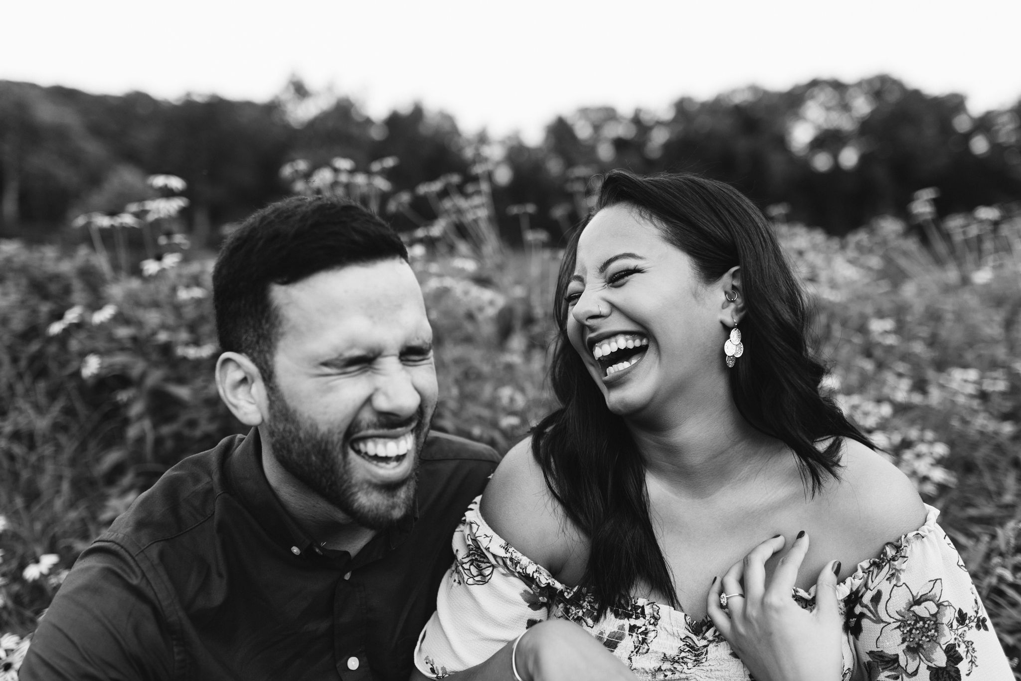 Frederick Maryland, Baltimore Wedding Photographer, Engagement, Bend in the River Farm, Outdoor, Rustic, Nature, Sweet Photo of Bride and Groom Laughing Together in a Field of Wildflowers, Black and White Photo