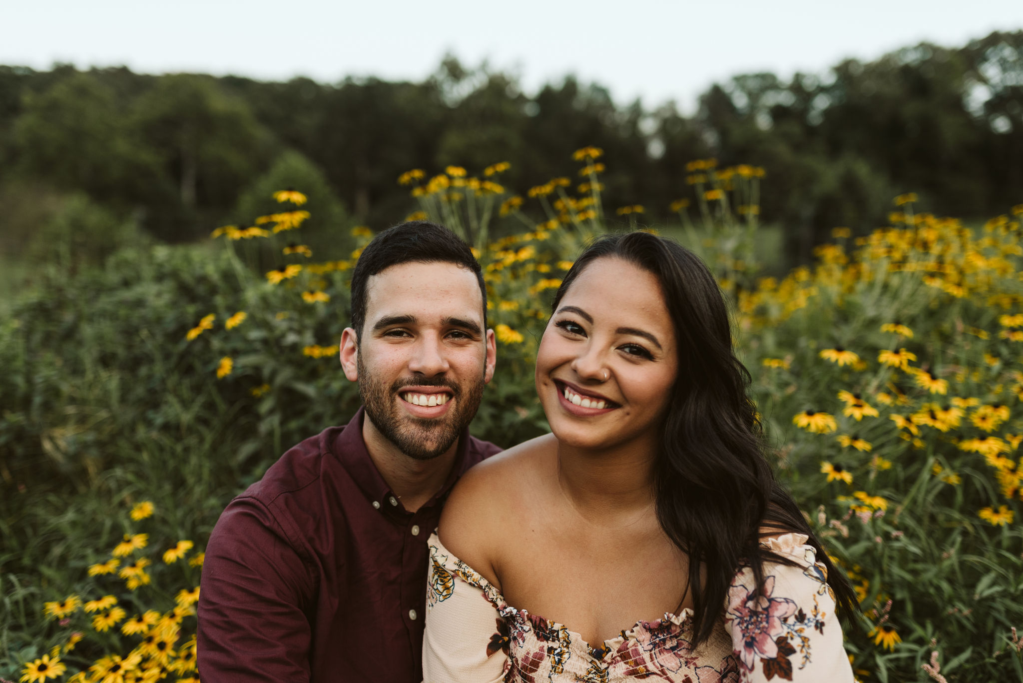 Frederick Maryland, Baltimore Wedding Photographer, Engagement, Bend in the River Farm, Outdoor, Rustic, Nature, Portrait of Bride and Groom at Sunset with Wildflowers