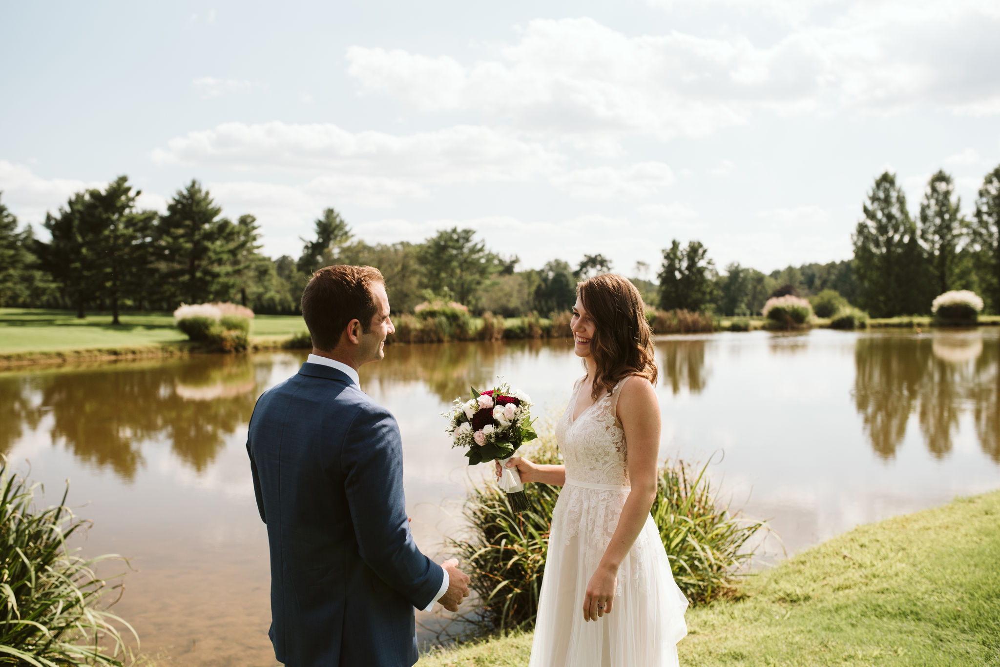Phoenix Maryland, Baltimore Wedding Photographer, Eagle's Nest Country Club, Classic, Romantic, Spring, BHLDN Dress, First Look, Dundalk Florist, Bride and Groom Outside by Water