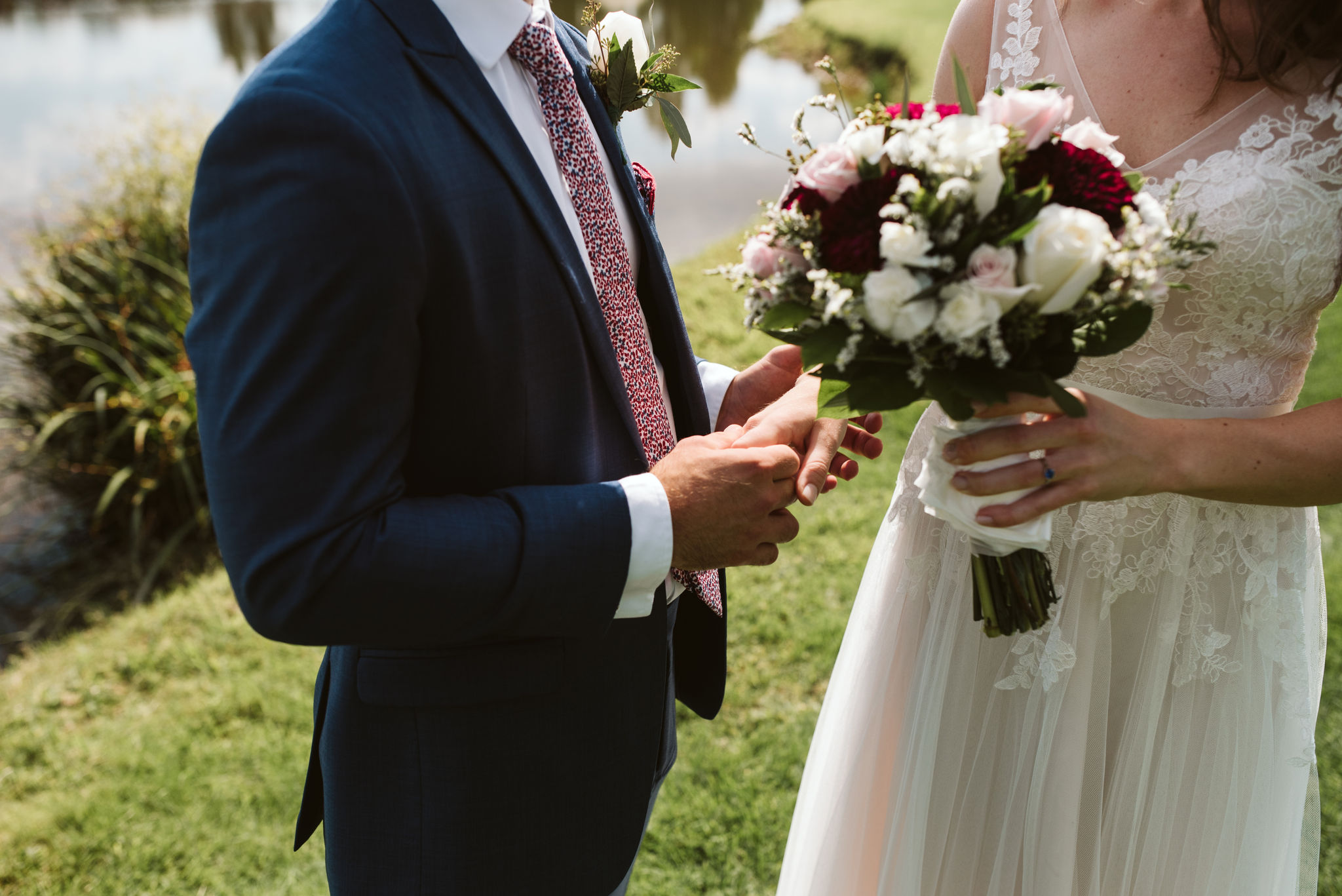 Phoenix Maryland, Baltimore Wedding Photographer, Eagle's Nest Country Club, Classic, Romantic, Spring, Bride and Groom Holidng Hands after First Look, Dundalk Florist, Knotty Tie, Generation Tux
