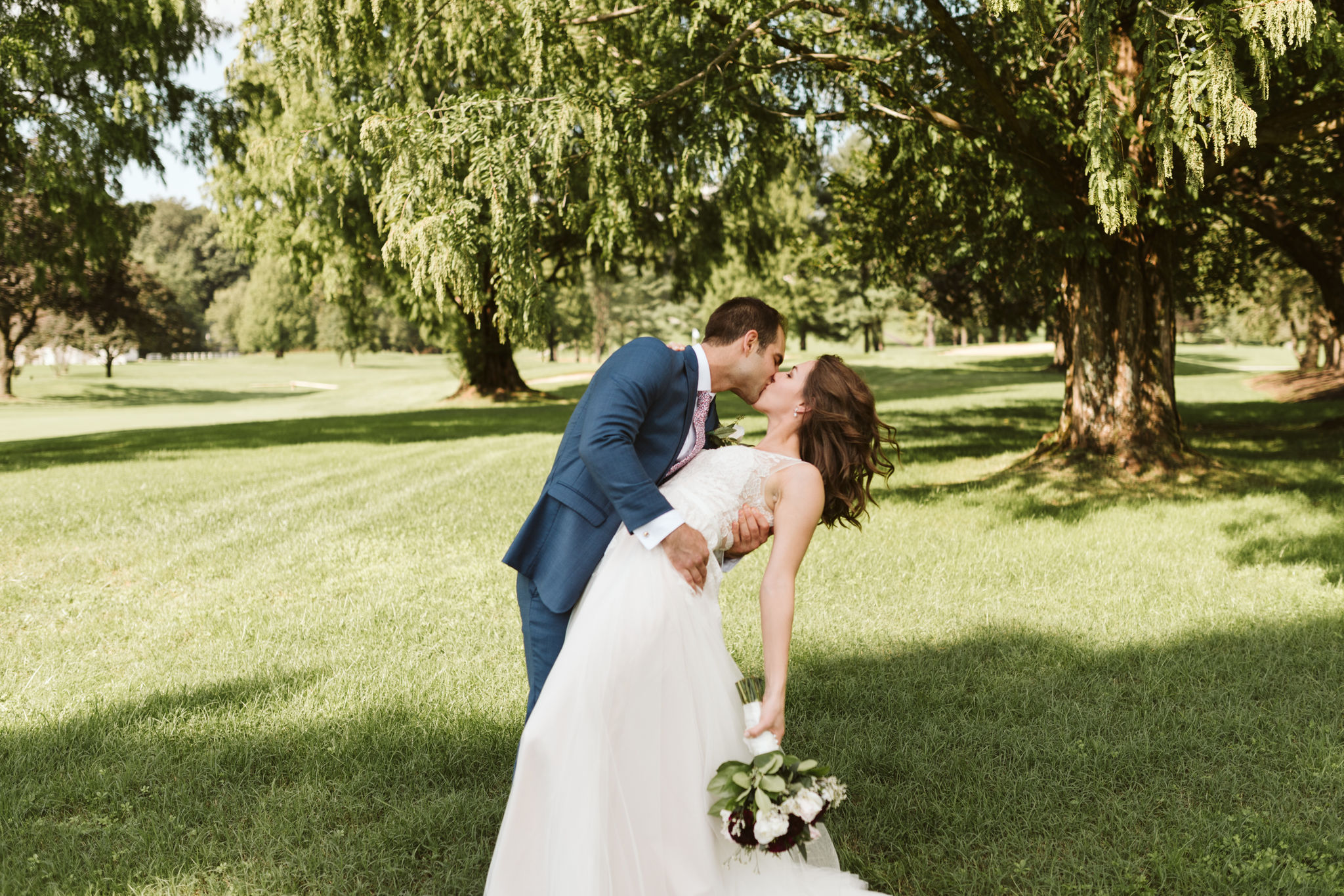 Phoenix Maryland, Baltimore Wedding Photographer, Eagle's Nest Country Club, Classic, Romantic, Groom Dipping the Bride, Couple Kissing in the Sun, BHLDN Dress