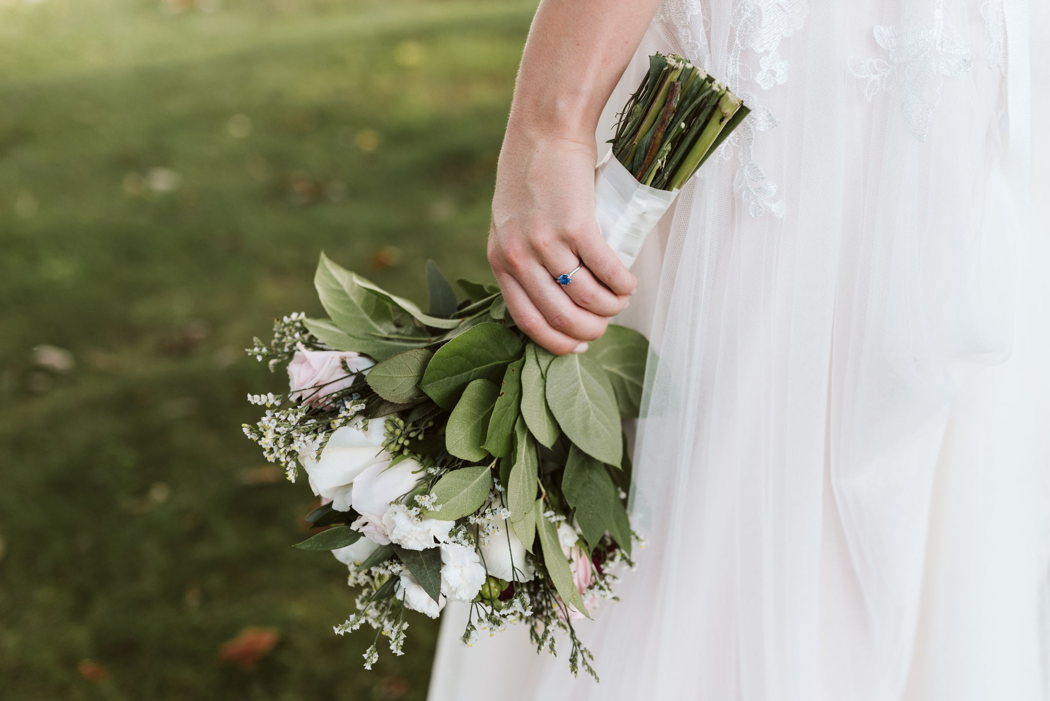 Phoenix Maryland, Baltimore Wedding Photographer, Eagle's Nest Country Club, Classic, Romantic, Spring, Detail Photo of Bride with Brilliant Earth Engagement Ring Holding Flowers