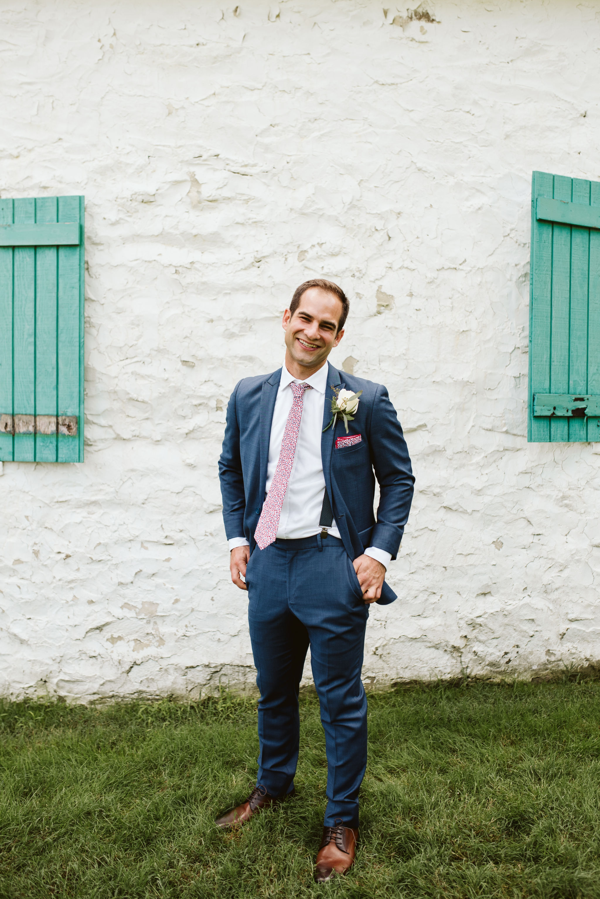 Phoenix Maryland, Baltimore Wedding Photographer, Eagle's Nest Country Club, Classic, Romantic, Portrait Photo of Groom Smiling, Generation Tux Suit, Knotty Tie Details, Pocket Square
