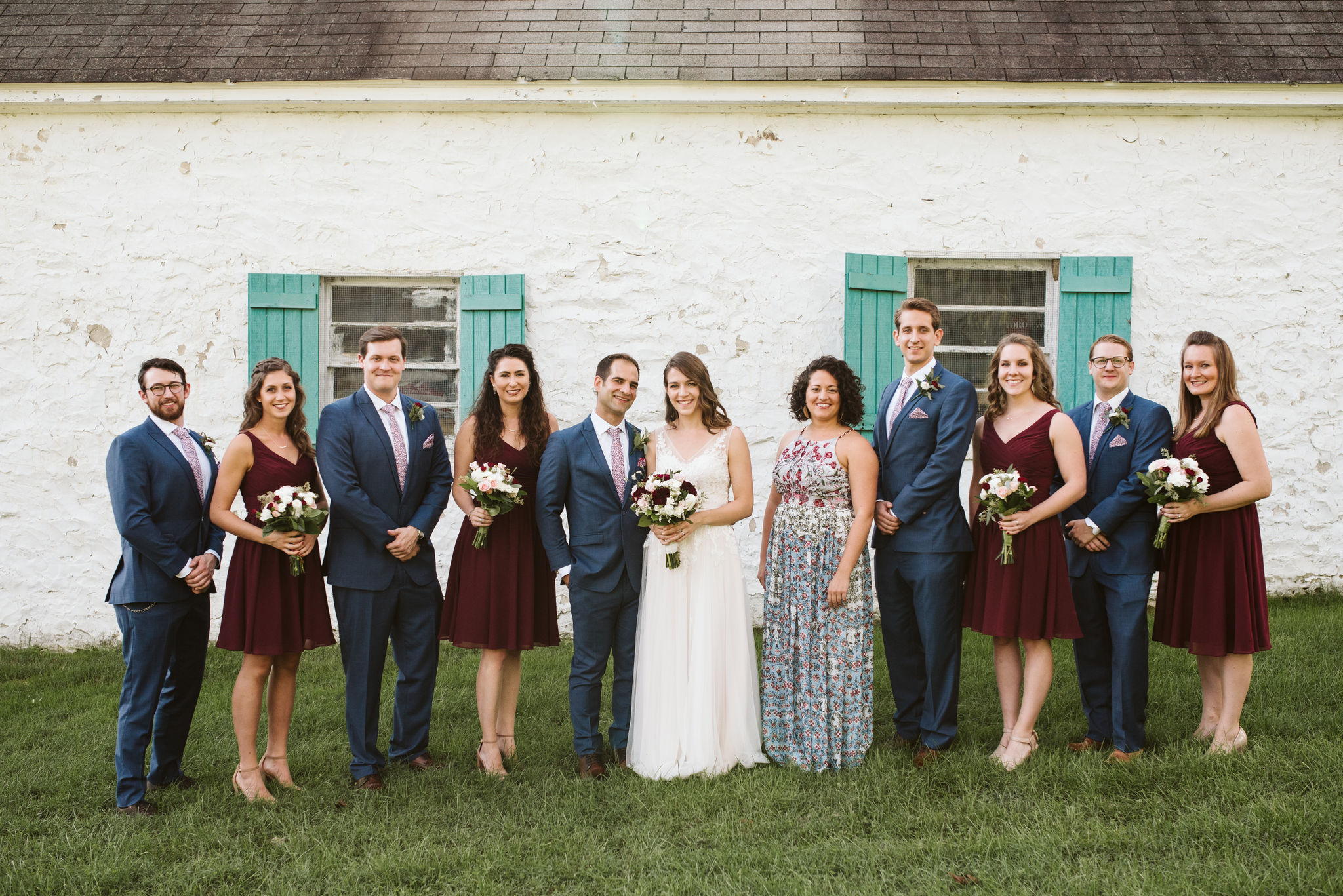 Phoenix Maryland, Baltimore Wedding Photographer, Eagle's Nest Country Club, Classic, Romantic, Portrait of Bridal Party in Front of Cottage, BHLDN Wedding Dress, Generation Tux Suits, Brideside Bridesmaid Dresses,
