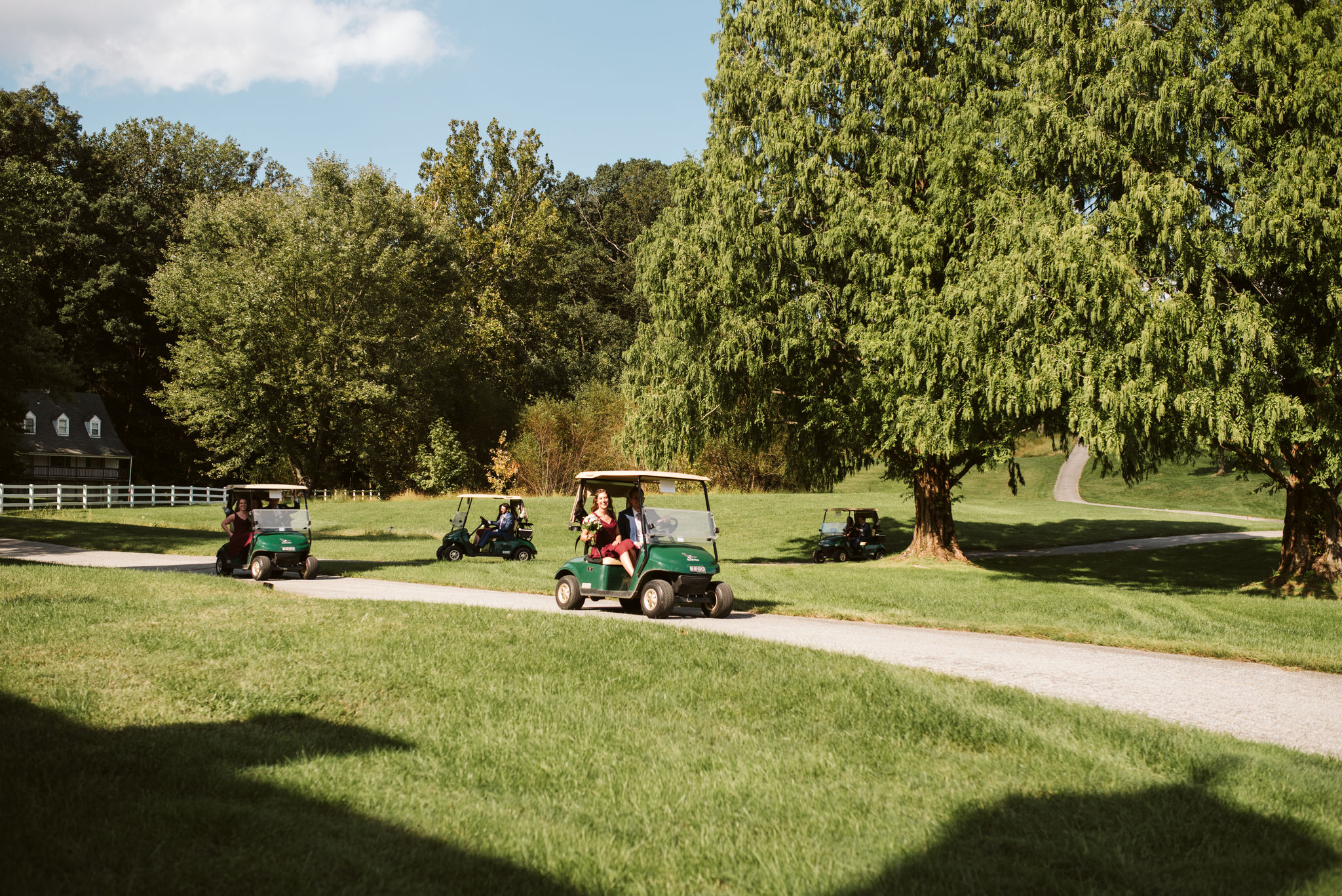 Phoenix Maryland, Baltimore Wedding Photographer, Eagle's Nest Country Club, Classic, Romantic, Spring, Wedding Party Arriving on Golfcarts
