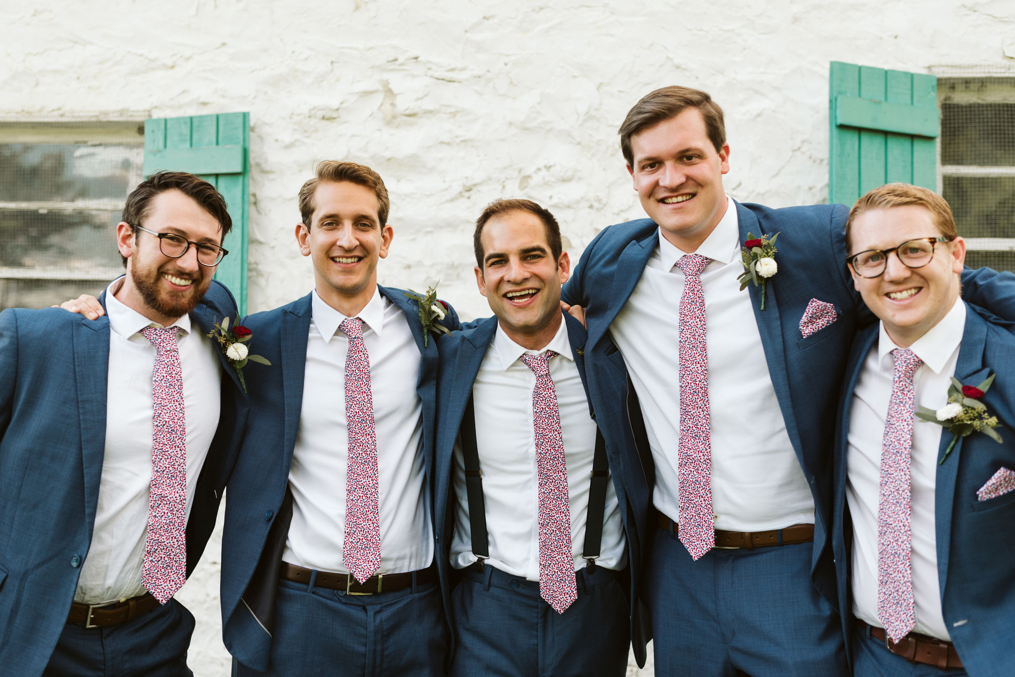 Phoenix Maryland, Baltimore Wedding Photographer, Eagle's Nest Country Club, Classic, Romantic, Portrait of Groom with Groomsmen, Generation Tux Blue Suits, Knotty Tie Ties and Pocketsquares, Red and White Boutonnieres
