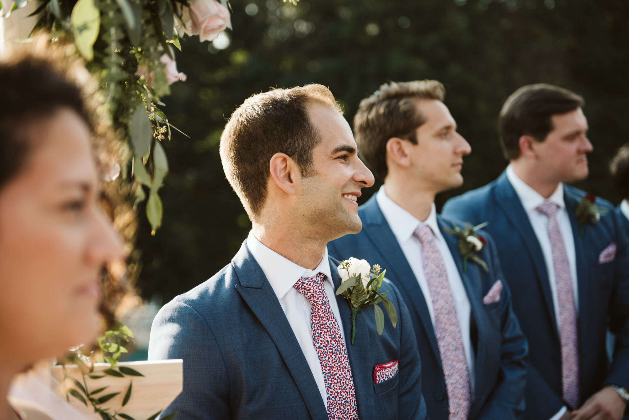 Phoenix Maryland, Baltimore Wedding Photographer, Eagle's Nest Country Club, Classic, Romantic, Groom Waiting for Bride at the Altar, Blue Generation Tux Suit, Polka Dot Knotty Tie