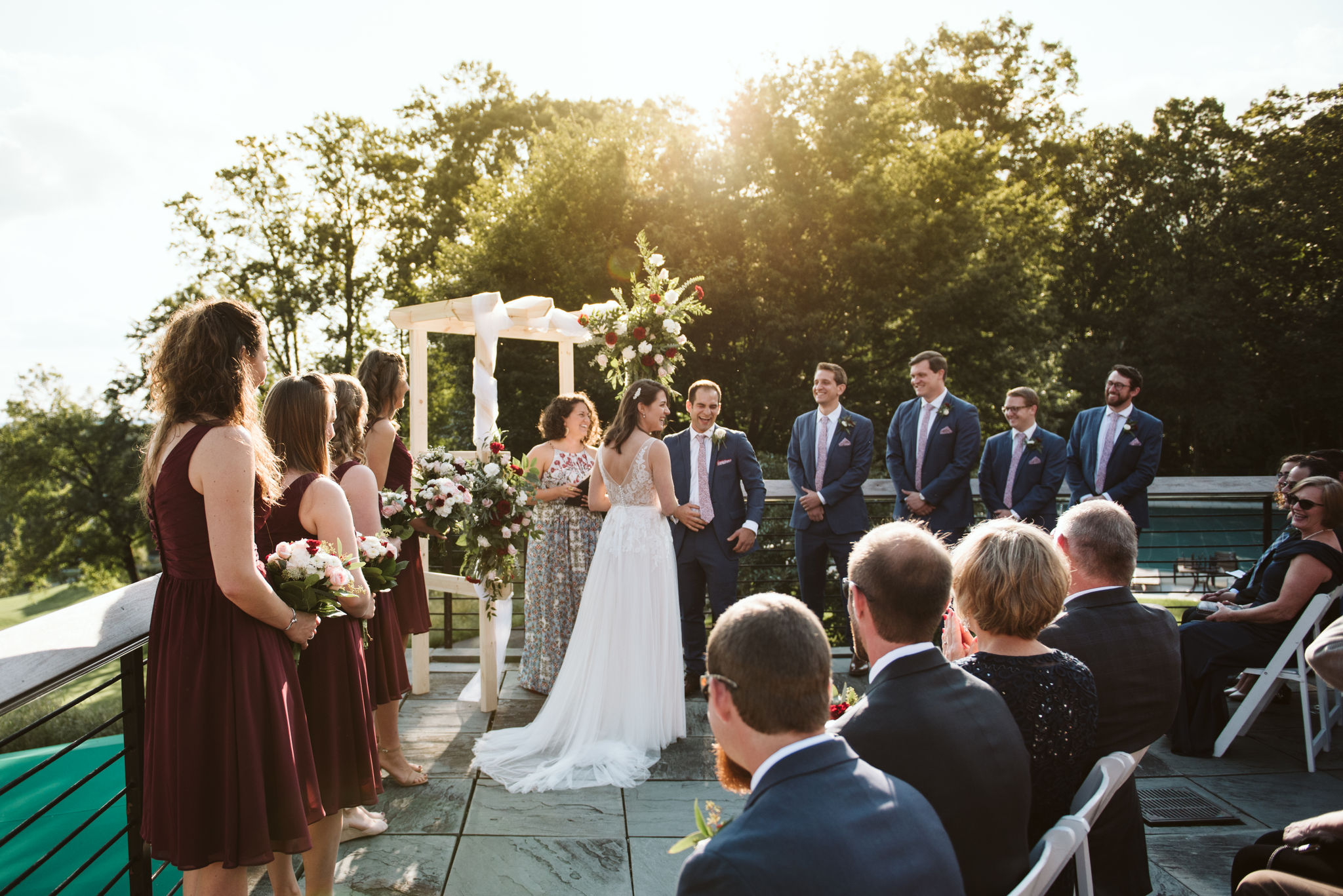Phoenix Maryland, Baltimore Wedding Photographer, Eagle's Nest Country Club, Classic, Romantic, Bride and Groom at Altar Surrounded by Family and Friends, BHLDN Dress