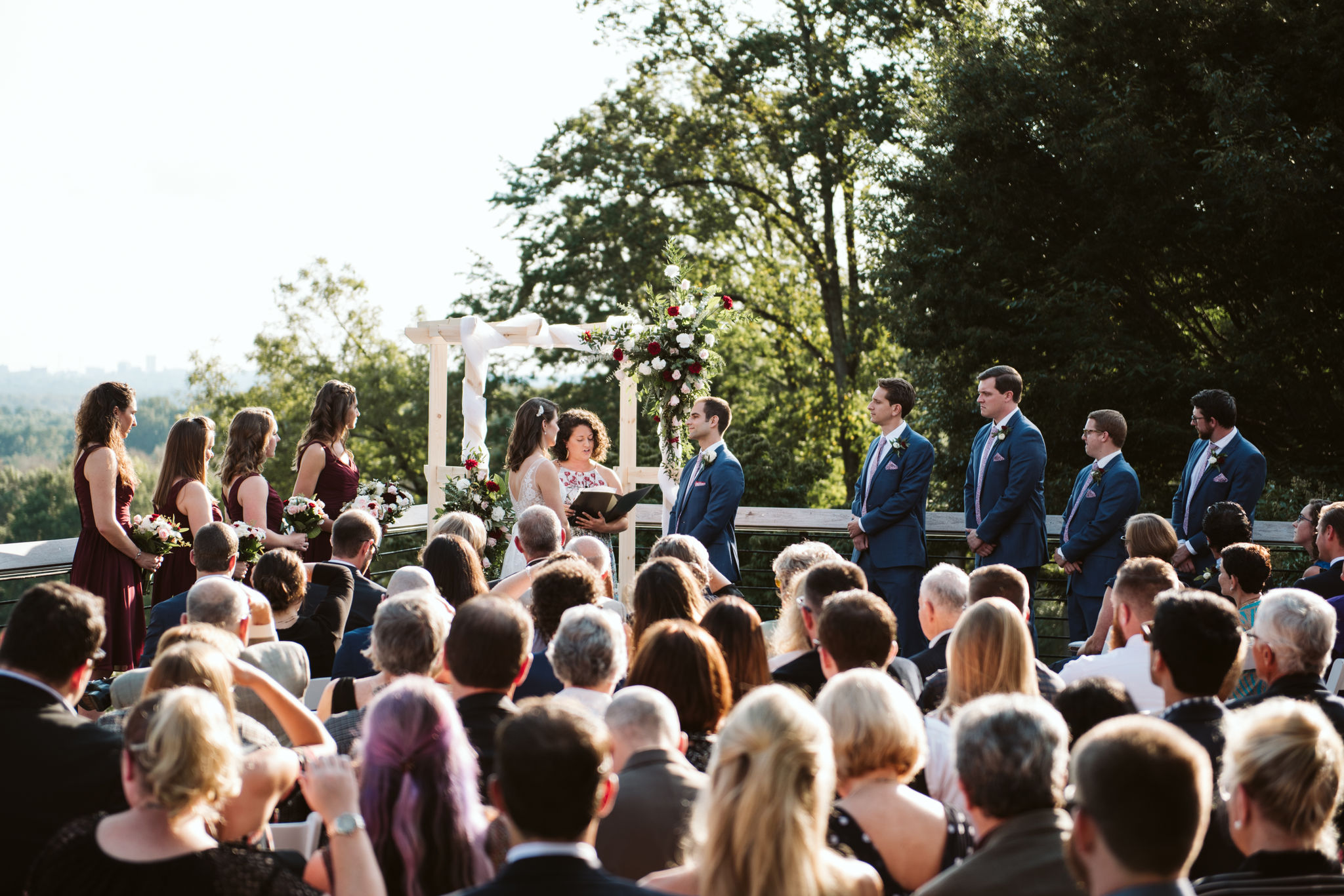 Phoenix Maryland, Baltimore Wedding Photographer, Eagle's Nest Country Club, Classic, Romantic, Overall Photo of the Wedding, Couple Getting Married Surrounded by Family and Friends, Outdoor Ceremony