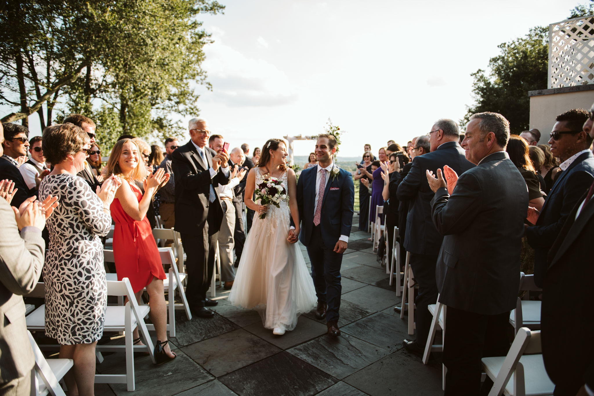 Phoenix Maryland, Baltimore Wedding Photographer, Eagle's Nest Country Club, Classic, Romantic, Spring, Bride and Groom Walking Down Aisle with Friends Cheering, Just Married, Outdoor Ceremony