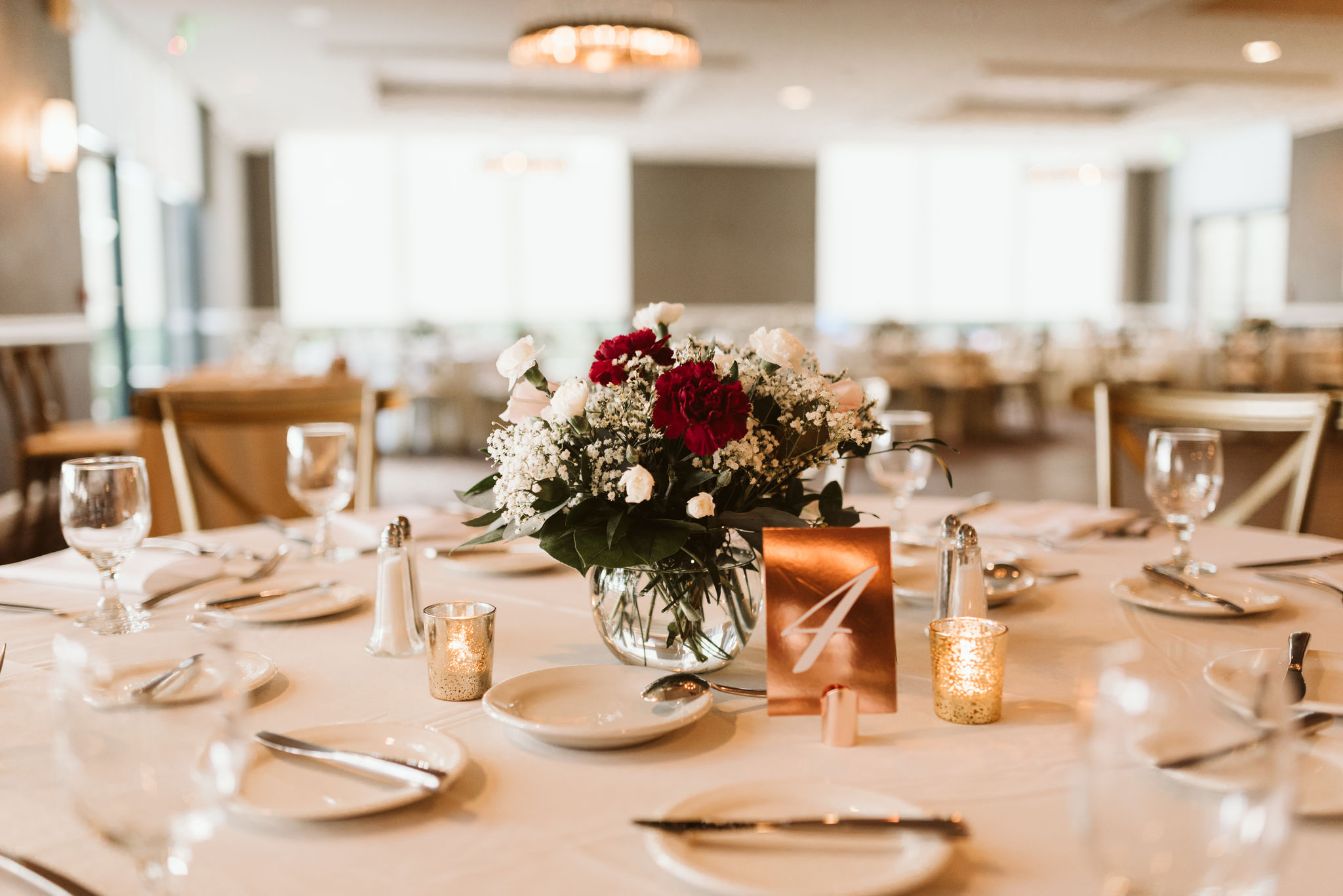 Phoenix Maryland, Baltimore Wedding Photographer, Eagle's Nest Country Club, Classic, Romantic, Reception Table Setting, Metallic Table Number, Dundalk Florist