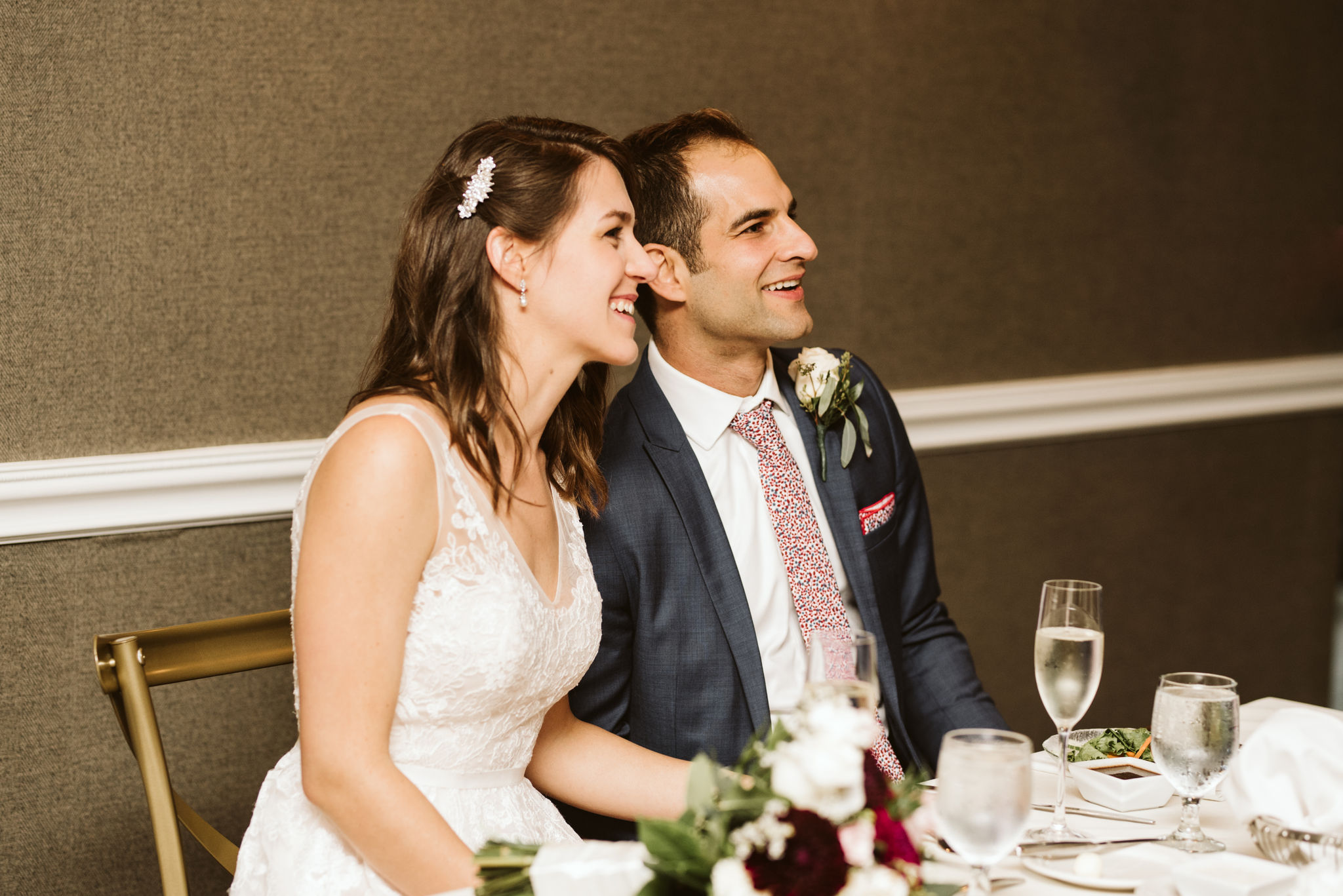 Phoenix Maryland, Baltimore Wedding Photographer, Eagle's Nest Country Club, Classic, Romantic, Spring, Bride and Groom Smiling Together at Head Table, Gaby Vinas Hair