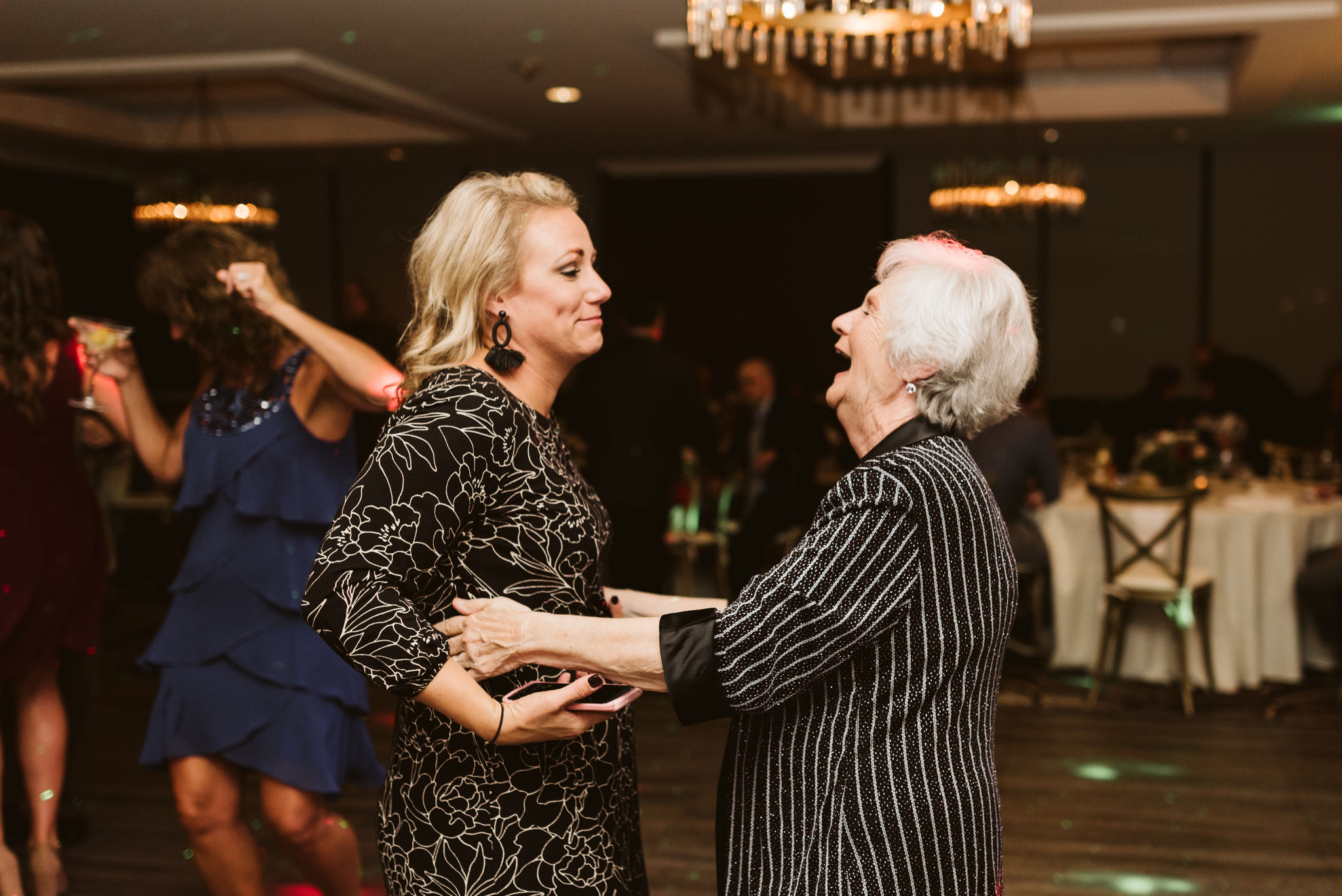 Phoenix Maryland, Baltimore Wedding Photographer, Eagle's Nest Country Club, Classic, Romantic, Wedding Guests Laughing Together on Dancefloor at Reception