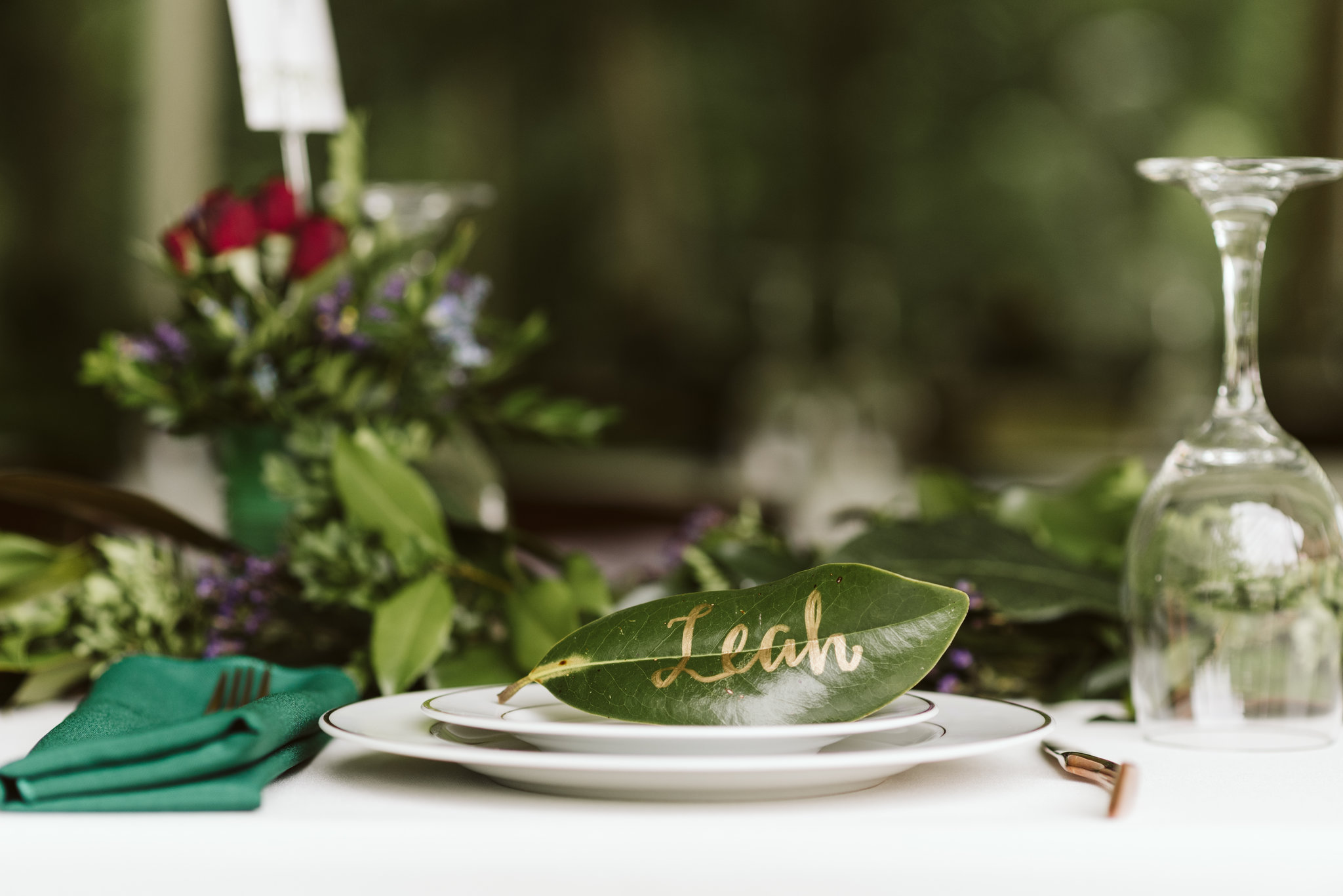 Annapolis, Quaker Wedding, Maryland Wedding Photographer, Intimate, Small Wedding, Vintage, DIY, Magnolia Leaf Namecards, Table Setting Closeup