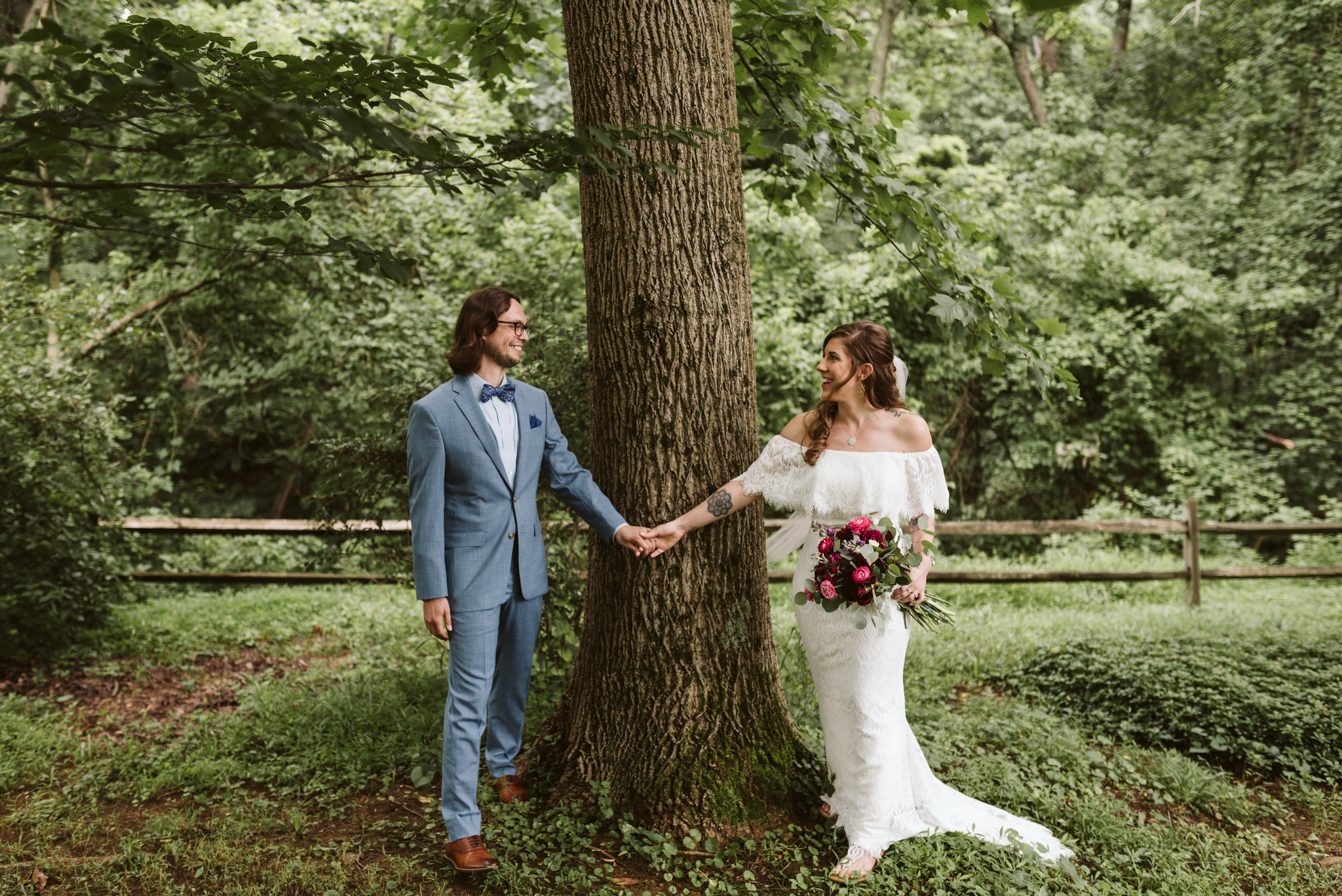 Annapolis, Quaker Wedding, Maryland Wedding Photographer, Intimate, Small Wedding, Vintage, DIY, Bride and groom Holding Hands by Tree