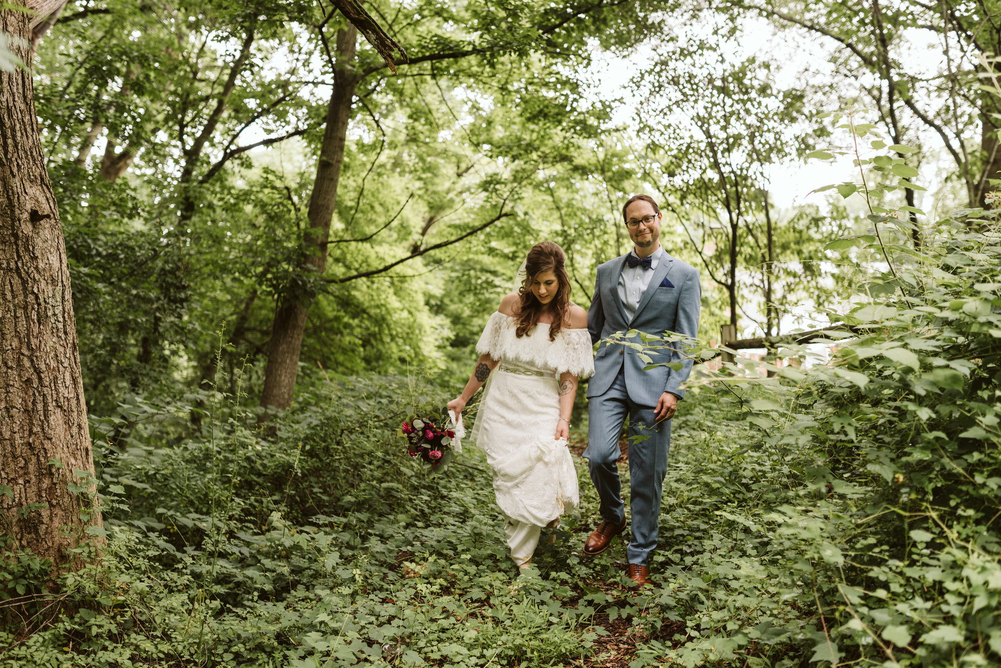 Annapolis, Quaker Wedding, Maryland Wedding Photographer, Intimate, Small Wedding, Vintage, DIY, Bride and Groom Walking through Woods