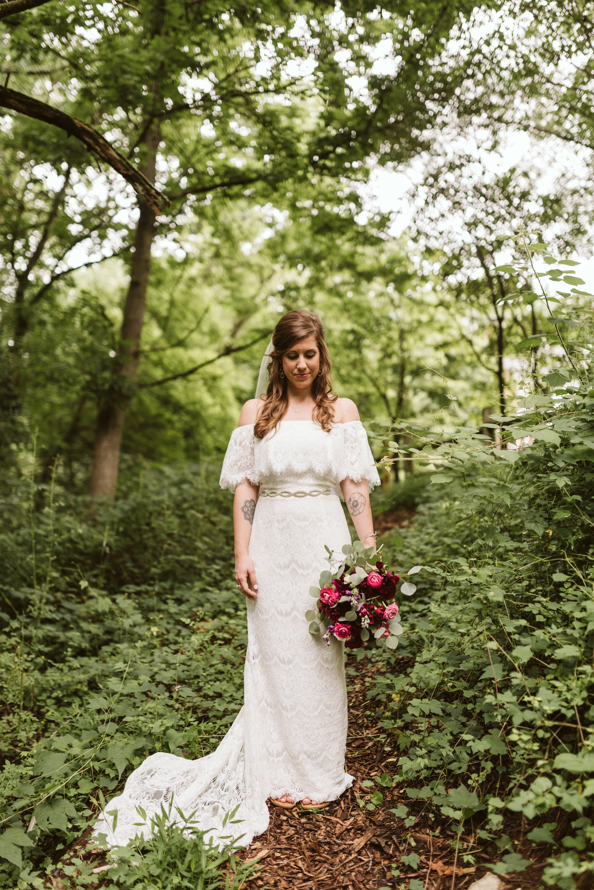 Annapolis, Quaker Wedding, Maryland Wedding Photographer, Intimate, Small Wedding, Vintage, DIY, Portrait of Bride Standing in the Woods, Lace Wedding Dress, Peonies and Eucalyptus