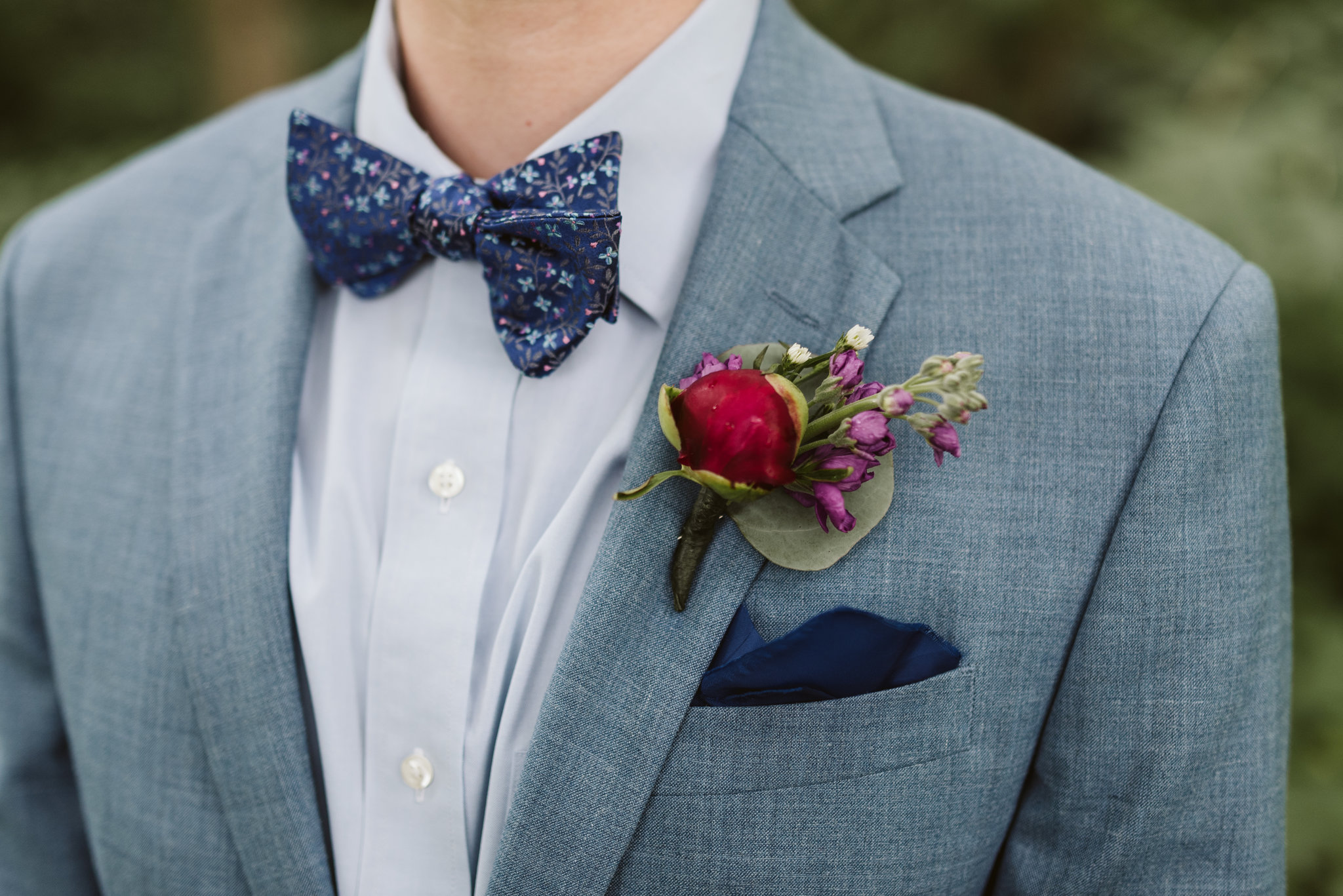 Annapolis, Quaker Wedding, Maryland Wedding Photographer, Intimate, Small Wedding, Vintage, DIY, Blue Suit, Blue Floral Bowtie, Closeup of Boutonniere
