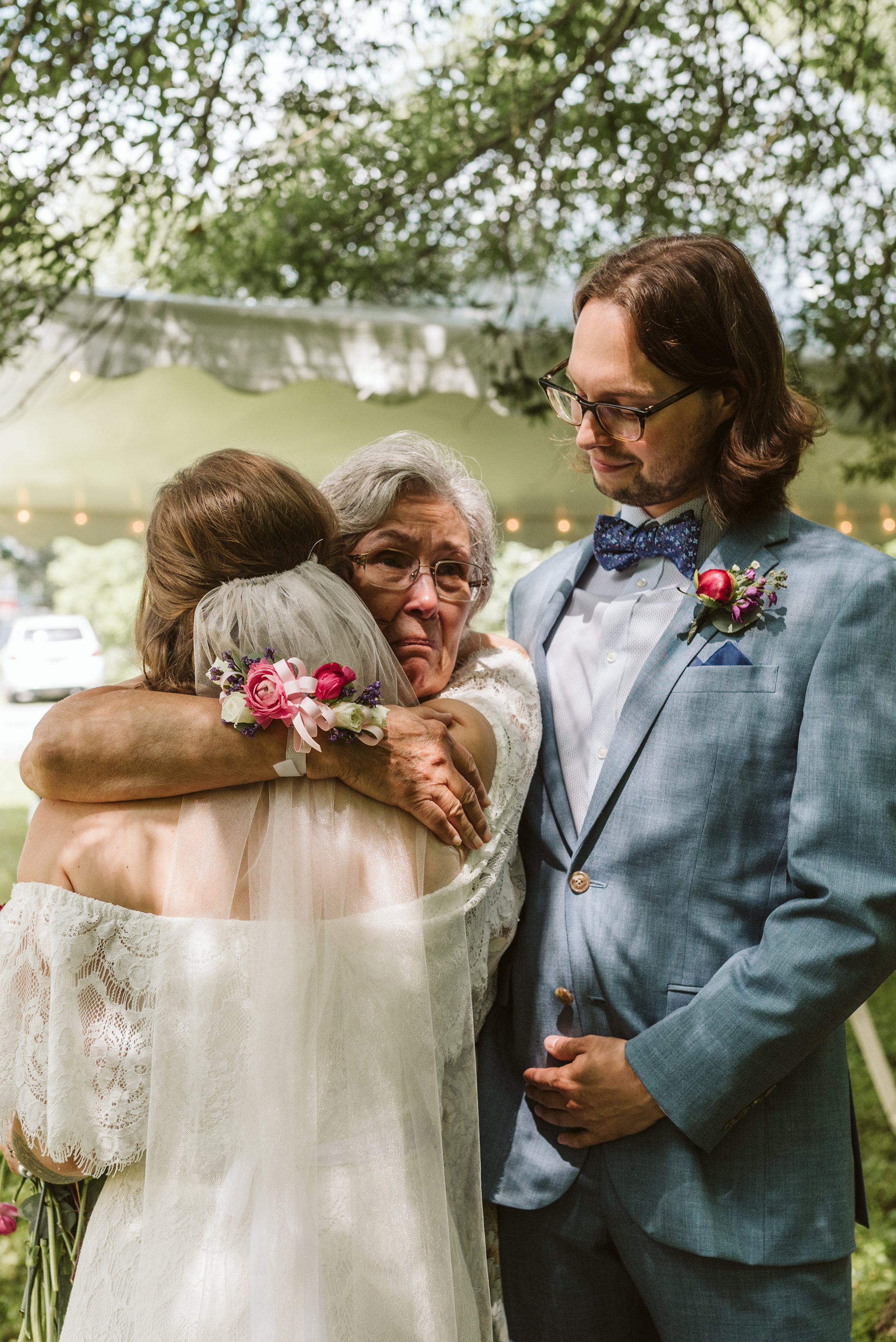 Annapolis, Quaker Wedding, Maryland Wedding Photographer, Intimate, Small Wedding, Vintage, DIY, Bride and Groom with Mother of the Bride, Bride Hugging Mother