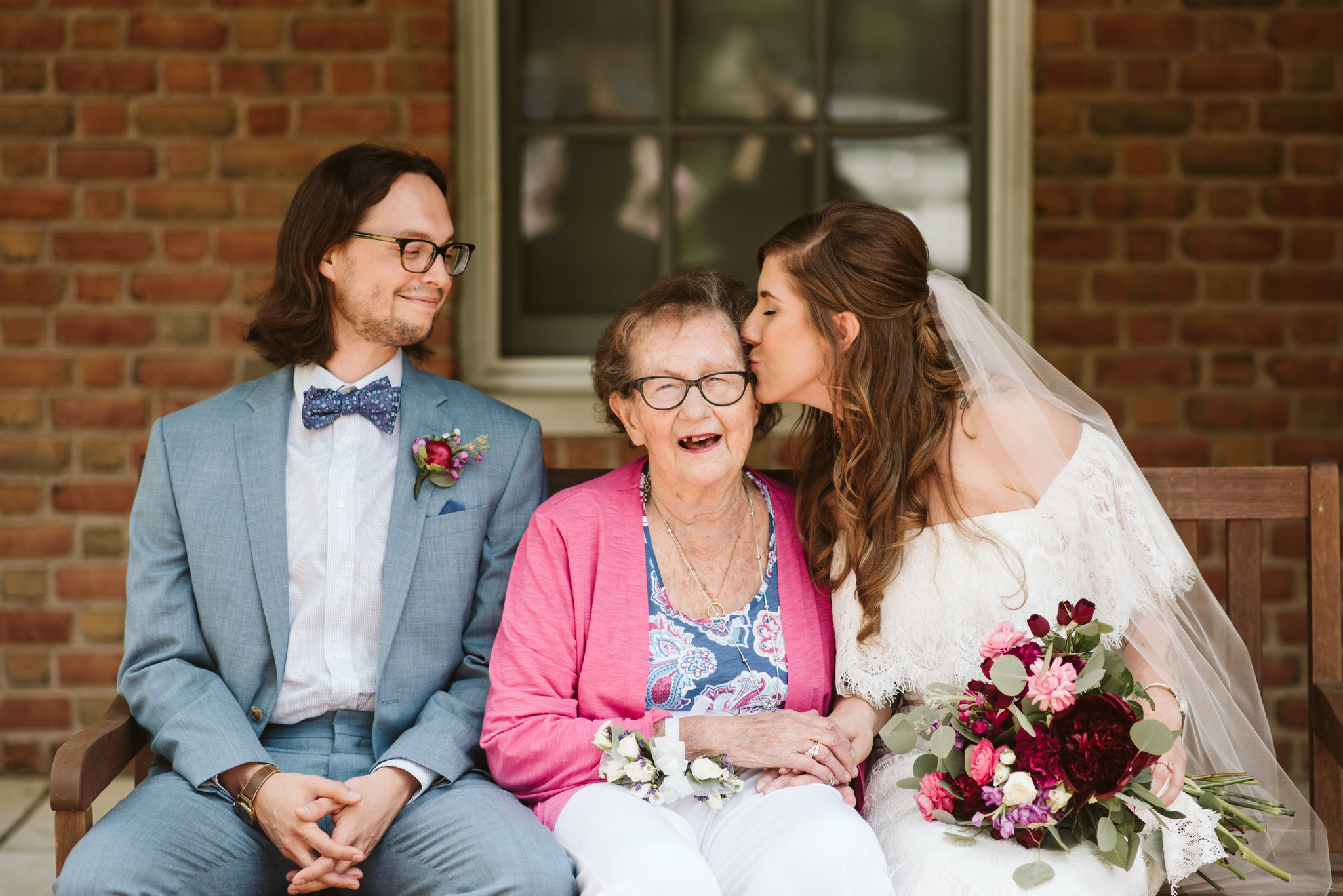 Annapolis, Quaker Wedding, Maryland Wedding Photographer, Intimate, Small Wedding, Vintage, DIY, Sweet photo of Bride and Groom with Grandmother