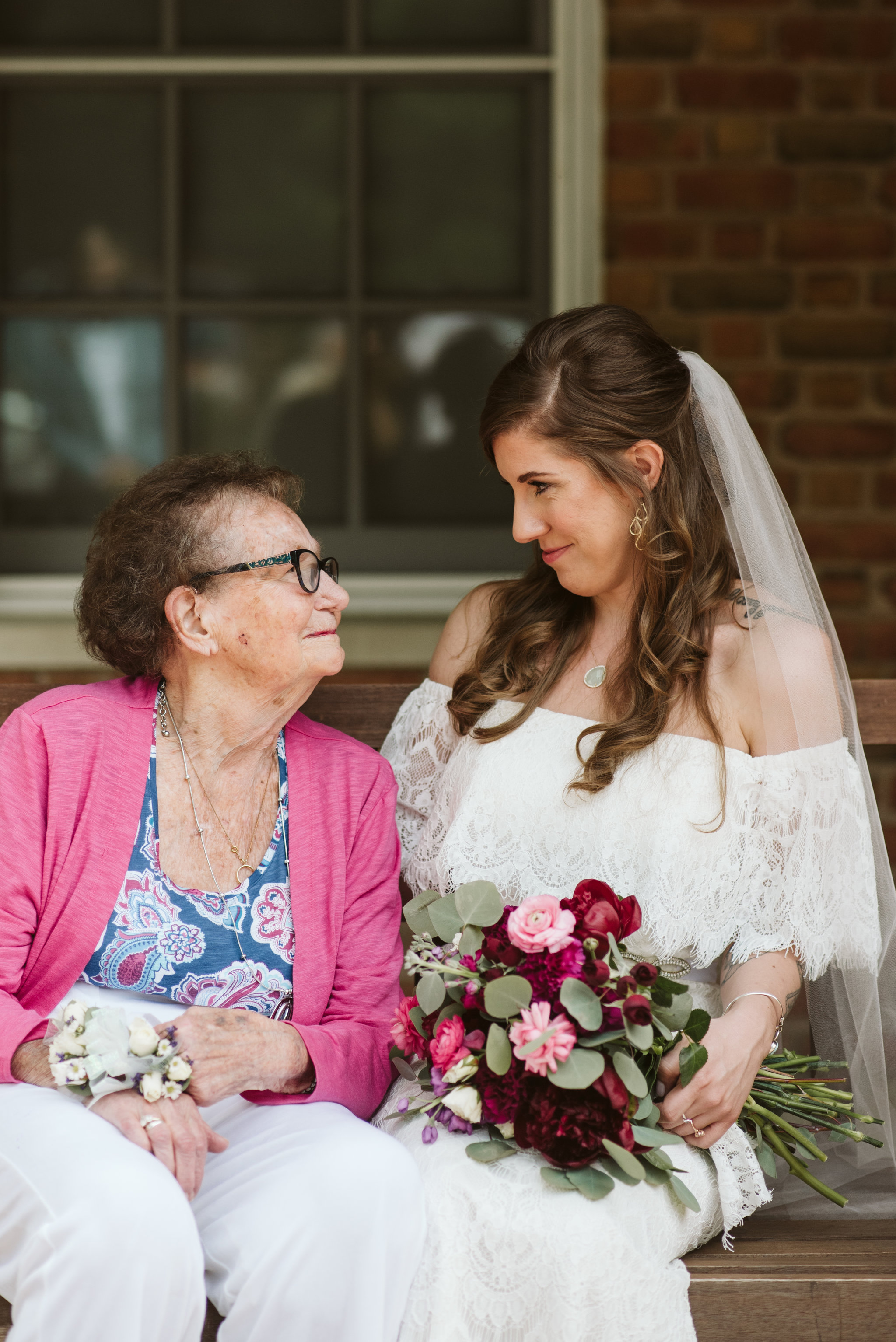 Annapolis, Quaker Wedding, Maryland Wedding Photographer, Intimate, Small Wedding, Vintage, DIY, Bride and Grandmother Smiling at Each Other, Sweet Family Portrait